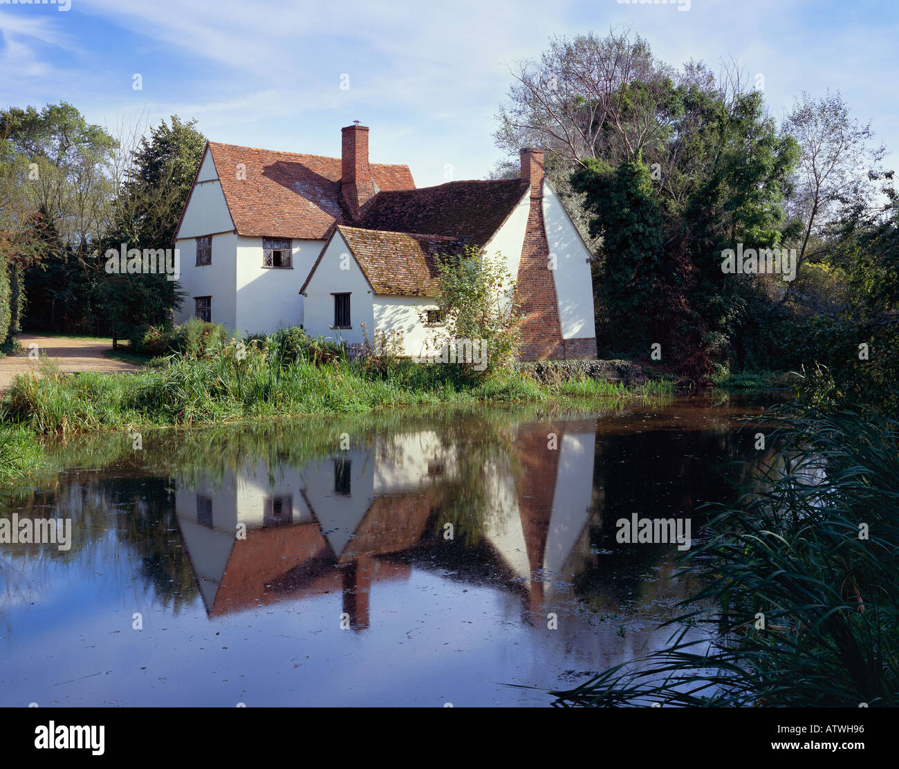 Flatford Mill Willy Lotts Cottage in the summer Taken on 4x5 large format film and drum scanned Stock Photo