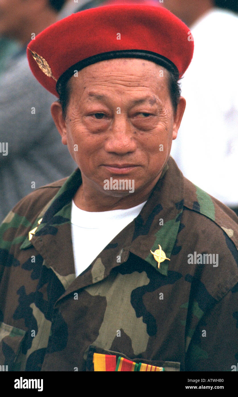 Hmong American soldier age 55 protesting trade to Laos without humanitarian aid. St Paul Minnesota USA Stock Photo