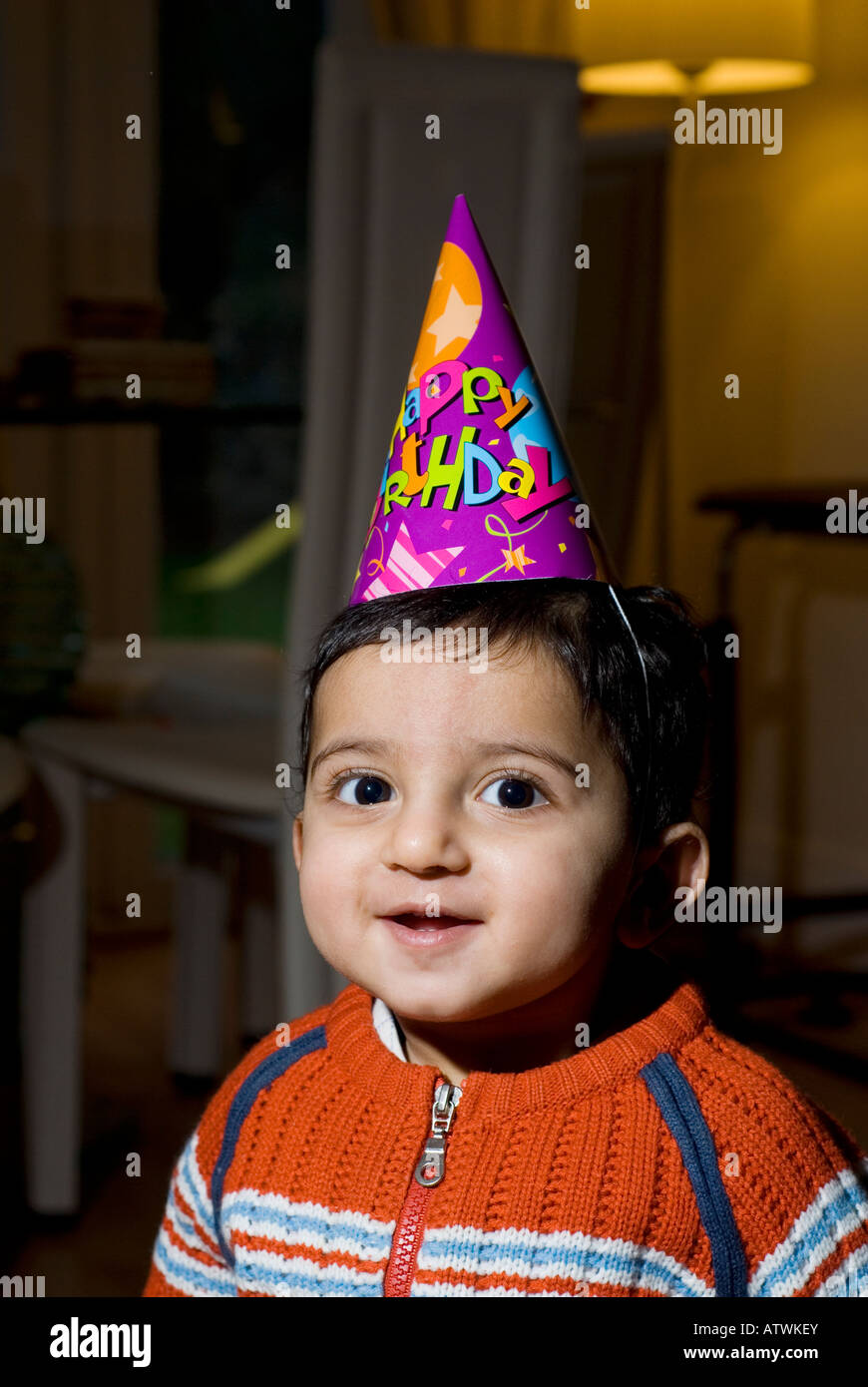 One Year Old Baby Boy Wearing Happy Birthday Cone Hat