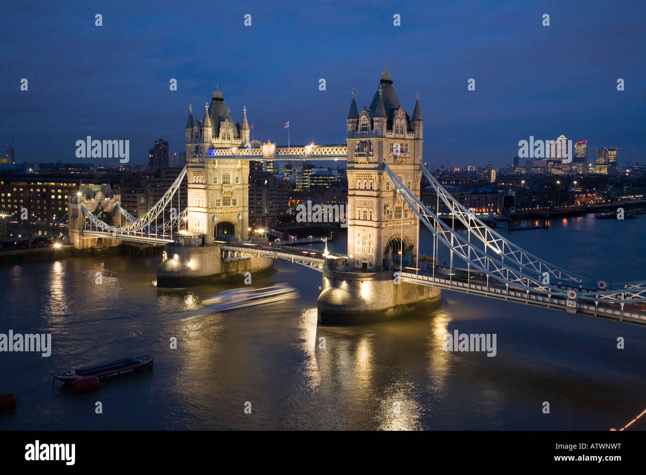 Elevated view of Tower Bridge. London, UK - Stock Image