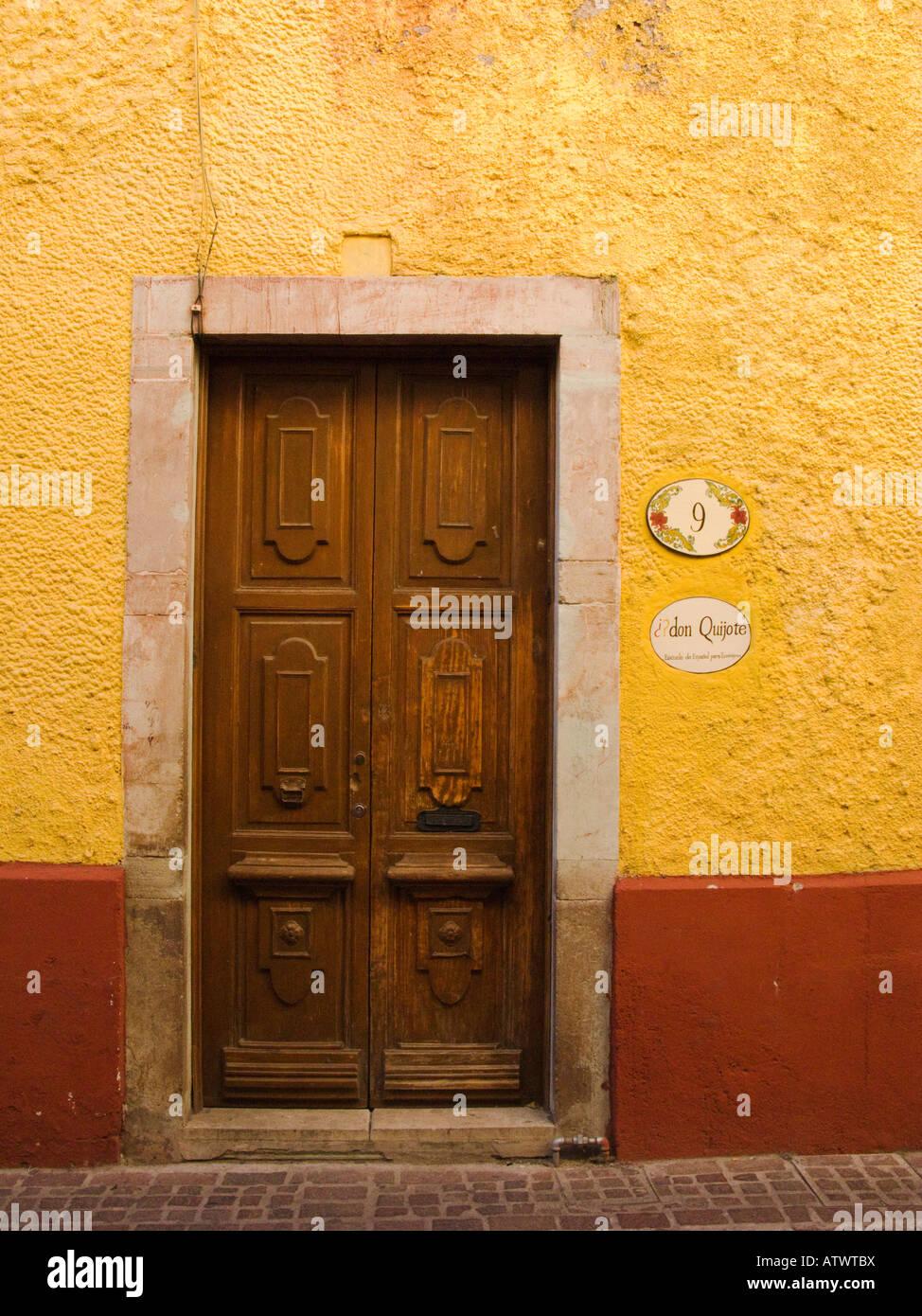 MEXICO Guanajuato Wooden door in stucco building sign for language school & MEXICO Guanajuato Wooden door in stucco building sign for language ...