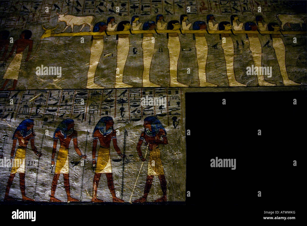 Tomb interior mural paintings Valley of the Kings Luxor Egypt North Africa - Stock Image