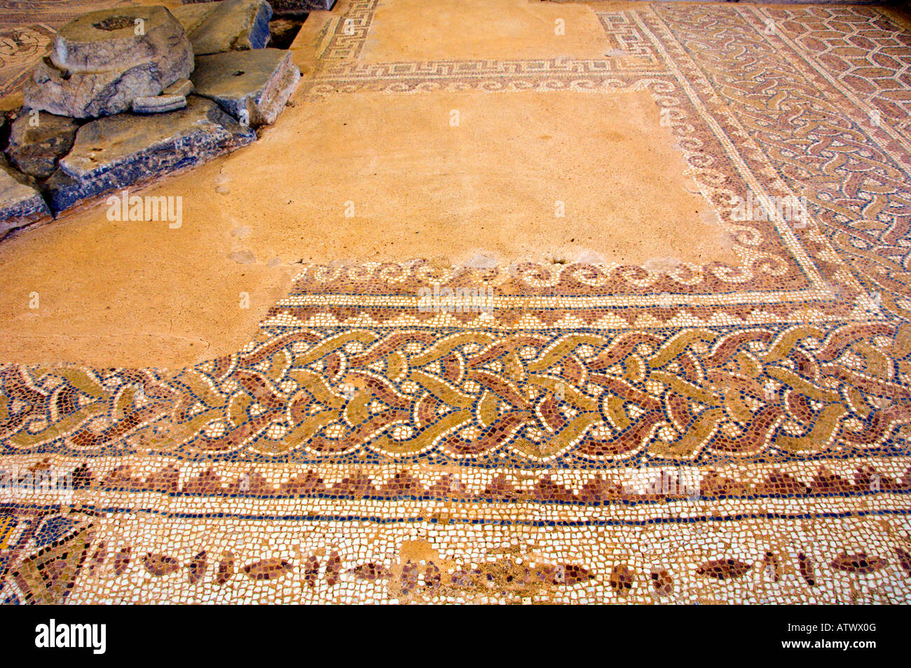 Well preserved mosaic rile work in the floors of the Basilica B section in the ruins of Phillipi Greece - Stock Image