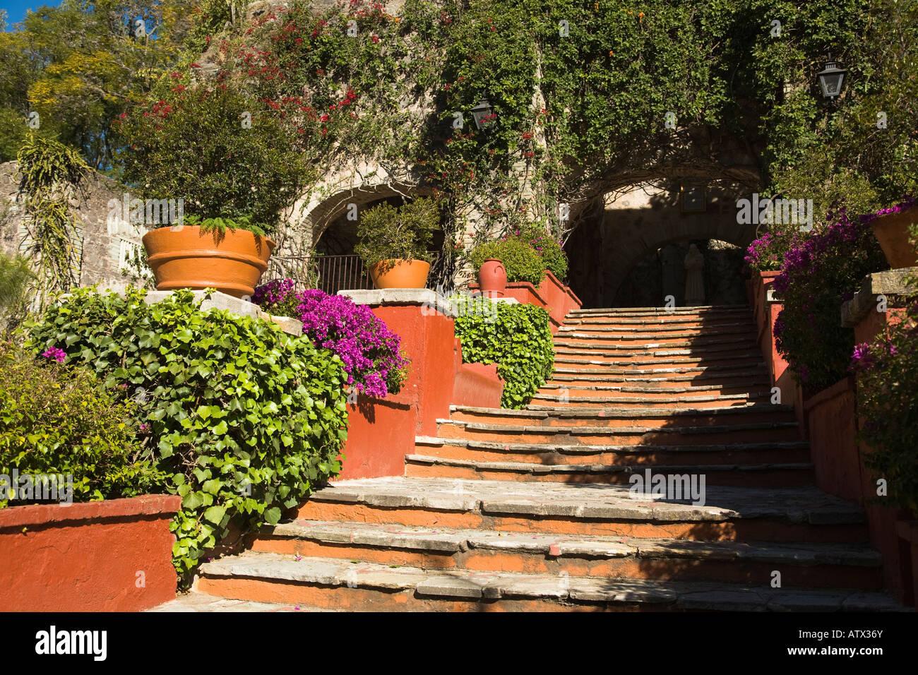 MEXICO Guanajuato Plants growing along stone stairway in garden ex hacienda de San Gabriel de Barrera Stock Photo