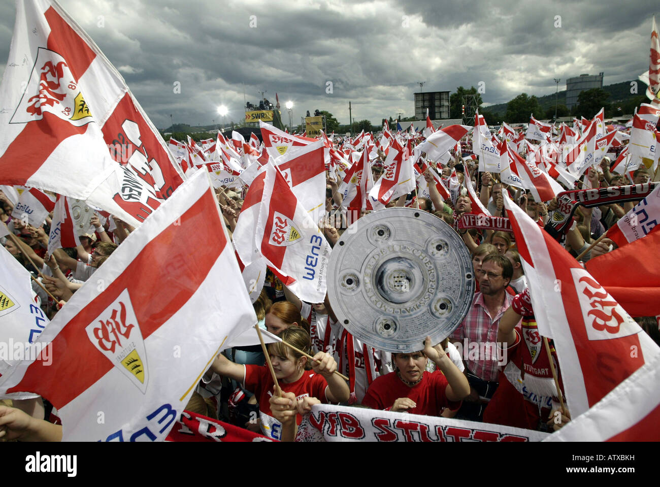 Supporters of the German soccer team VfB Stuttgart celebrating the German Cup final Stock Photo