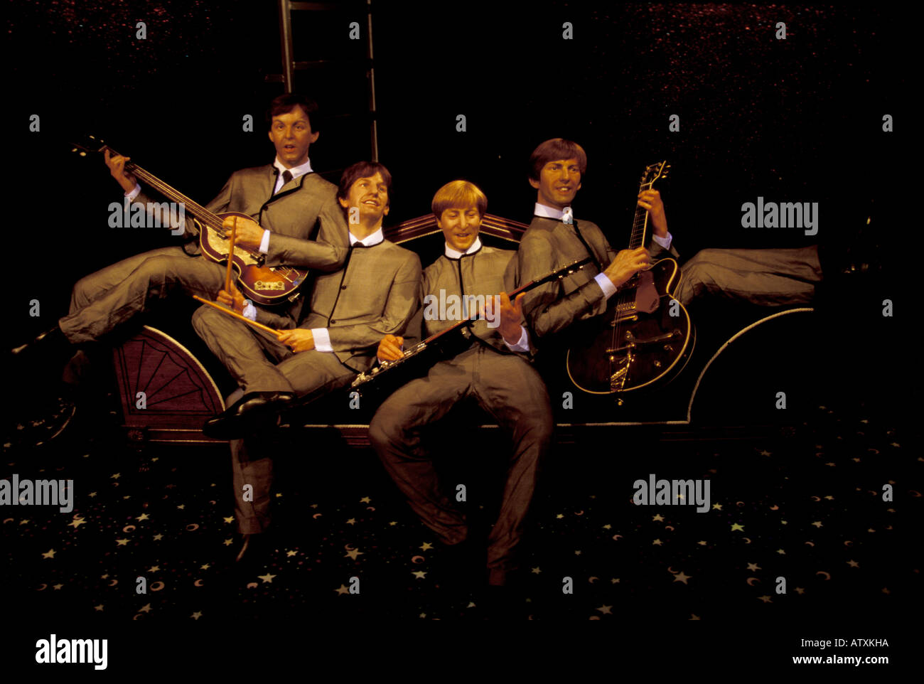 The Beatles statue Madame Tussaud s Wax Museum Victoria Peak Hong Kong China Asia - Stock Image