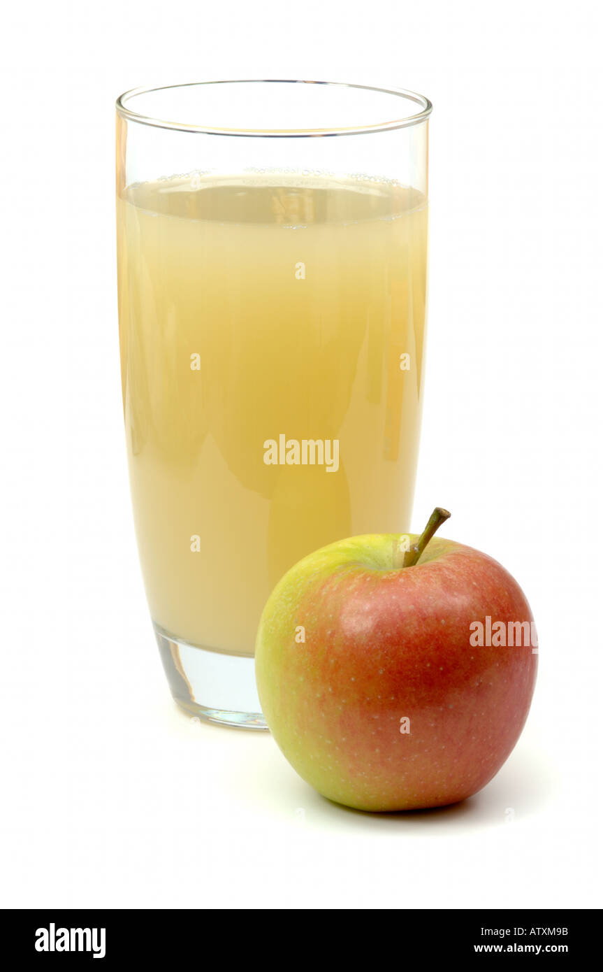 Glass Full Of Naturally Cloudy Apple Juice With Red Apple