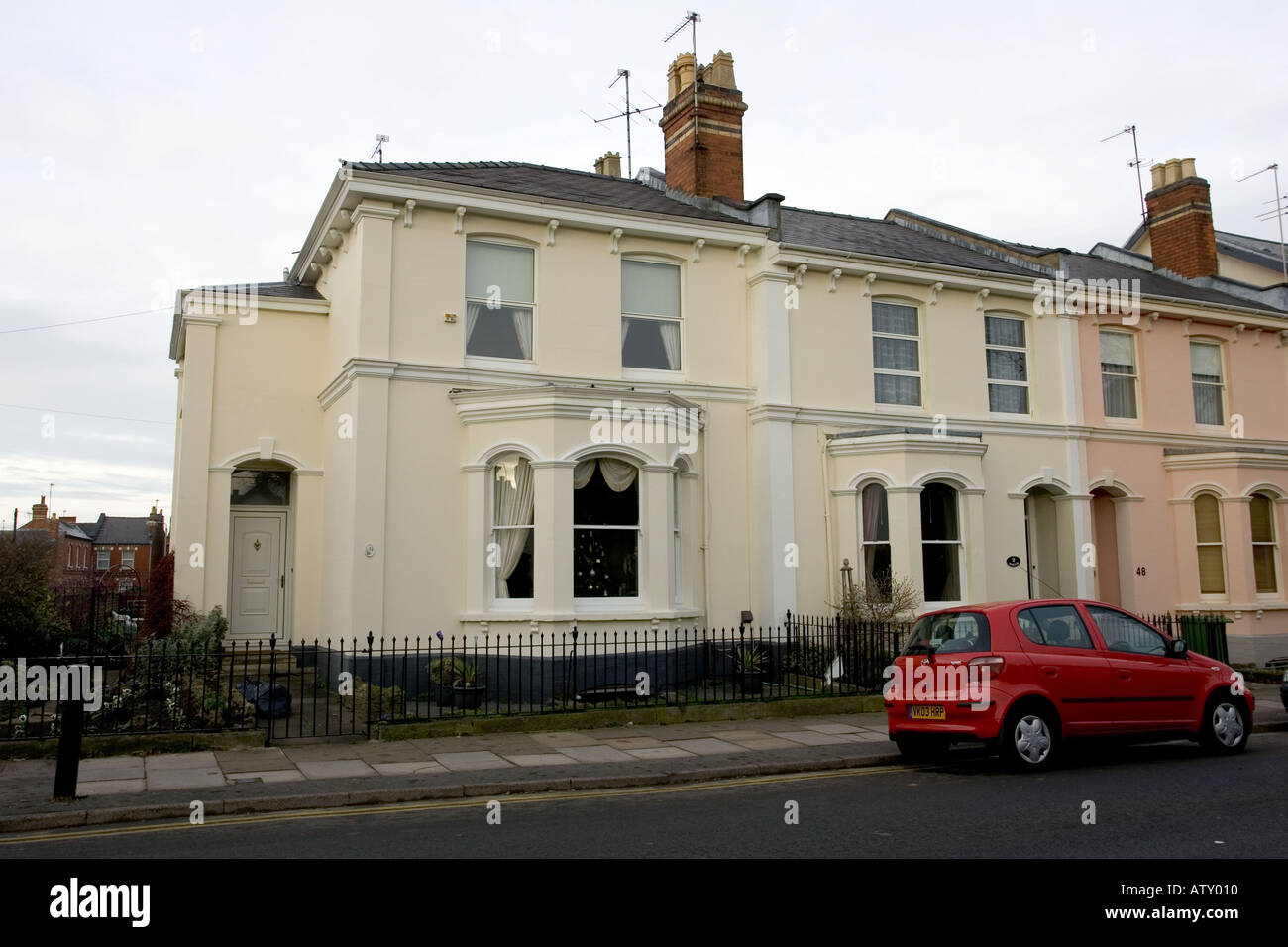 Large Victorian semi detached house Cheltenham UK - Stock Image