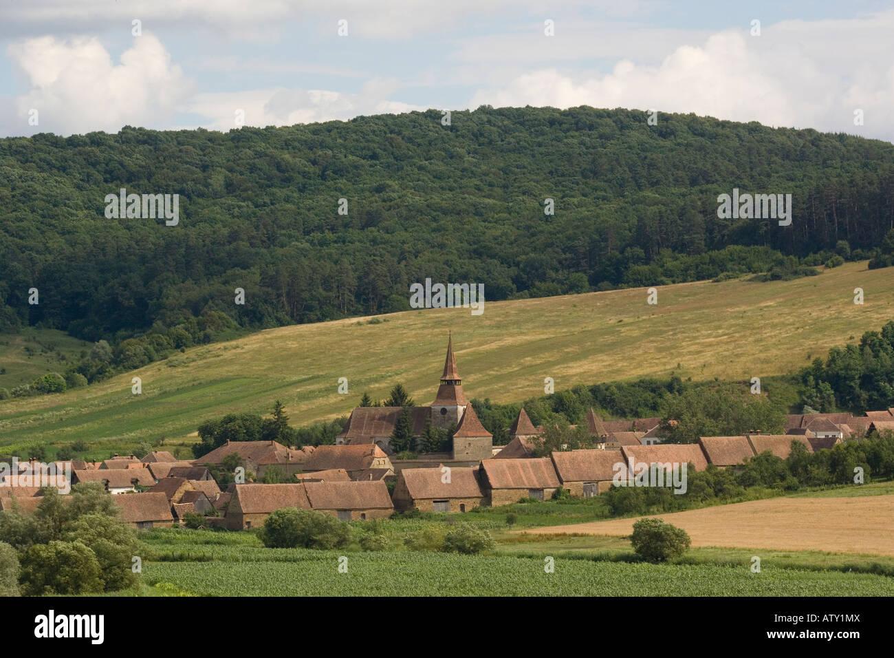 Saxon village of Apold Transylvania Romania - Stock Image