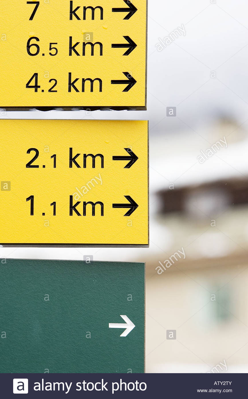 Close-up of Distance signboards - Stock Image