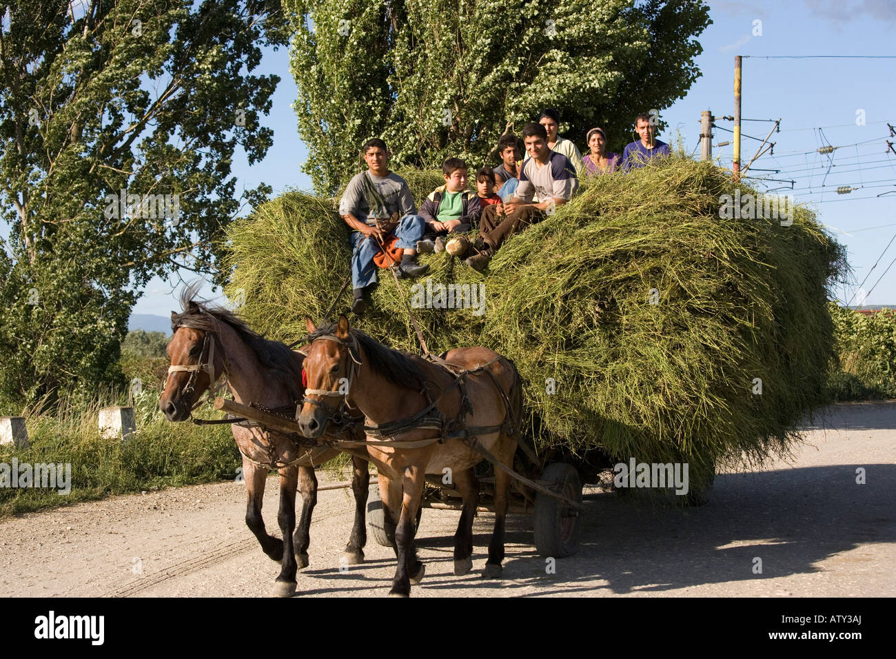 Gipsy family bringing home the hay from the fields Romania - Stock Image