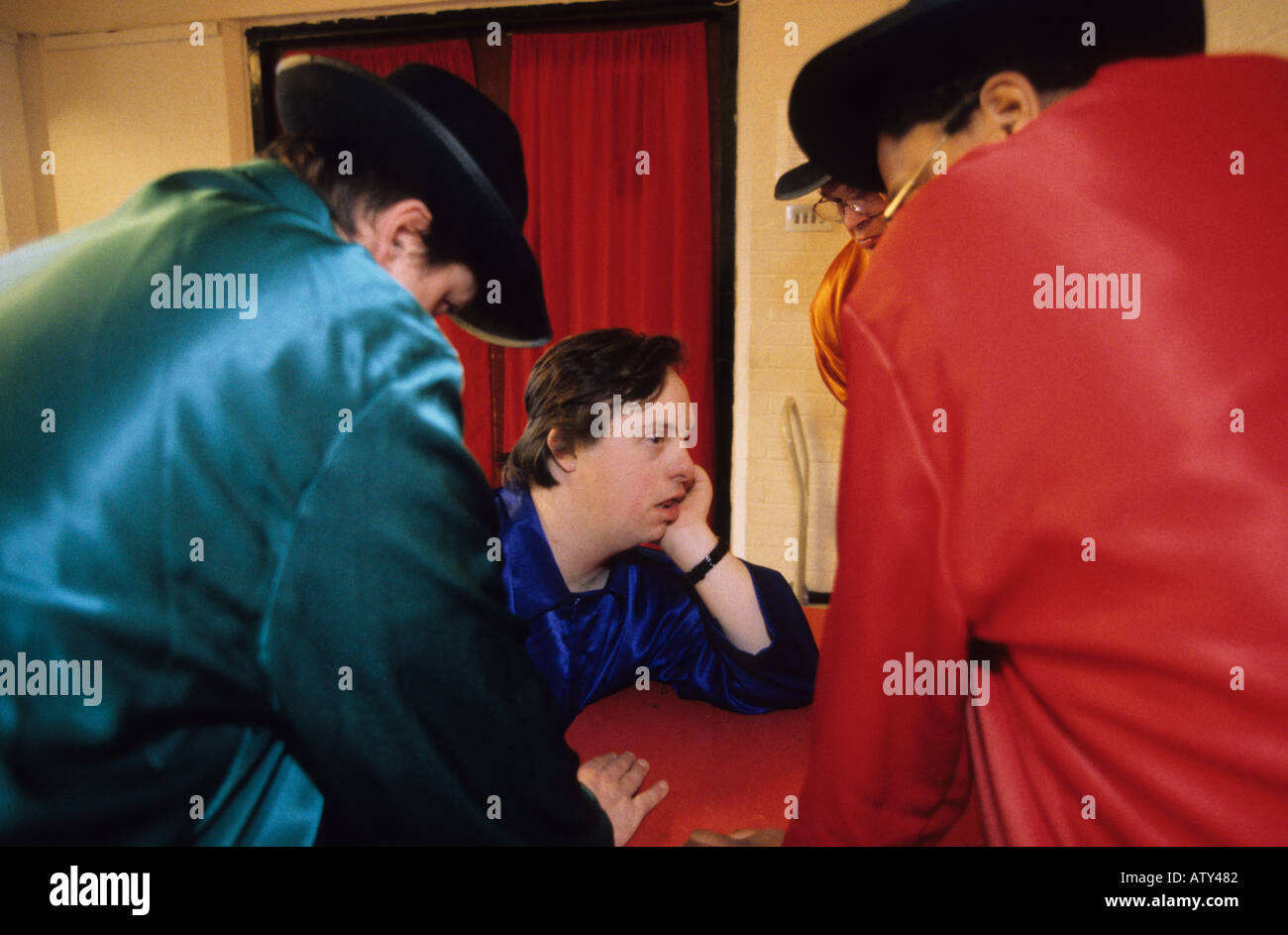 Theatre group rehearsing a play about bullying disabled people UK - Stock Image