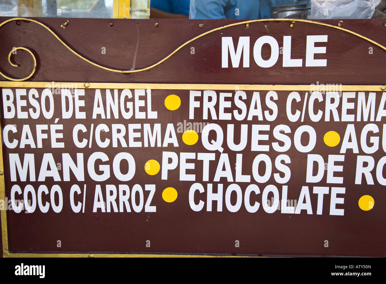 MEXICO Dolores Hidalgo Unique and exotic ice cream flavors posted on sign in Spanish local food specialty - Stock Image