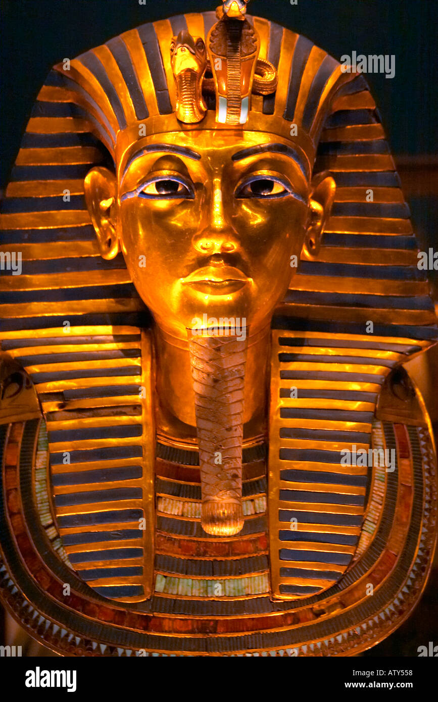 Tutankhamun Death Mask in the Cairo Museum Egypt - Stock Image