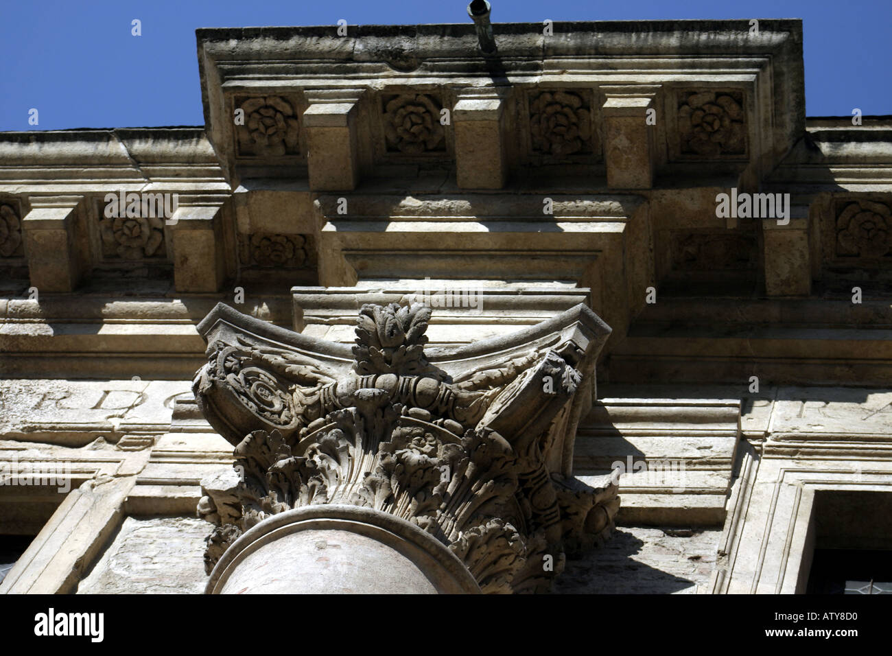 Entablature and column architectural detail on the Loggia del Capitaniato by Palladio Vicenza Italy - Stock Image