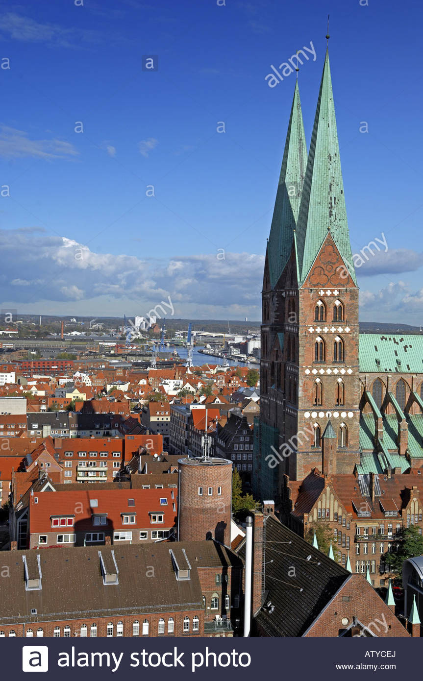 High angle view of towers of a church in a city, Tyskland, Germany - Stock Image