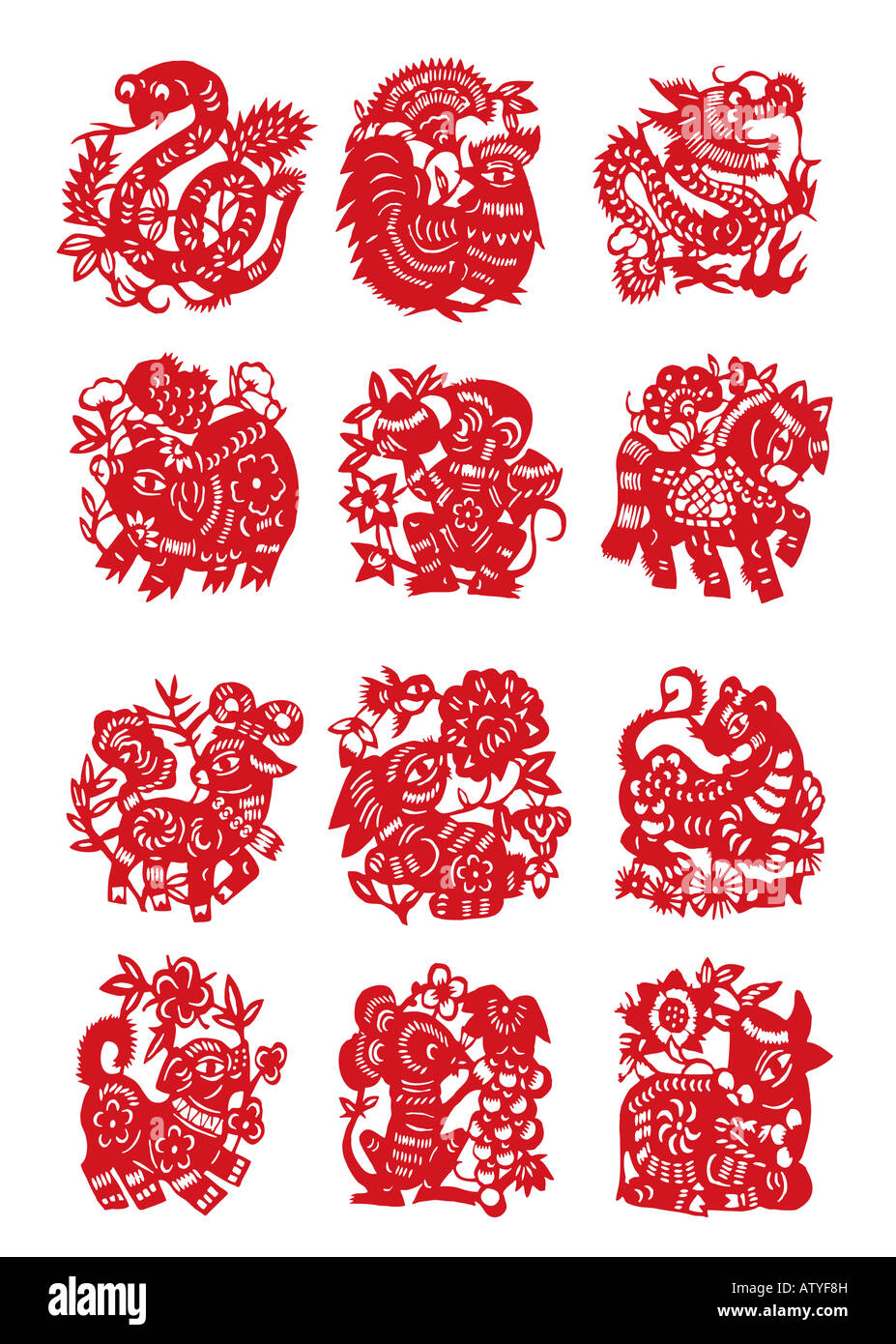 Paper cut Chinese Twelve Animal Sign snake pig goat dog coak monkey rabit rat dragon horse tiger and cattle with - Stock Image
