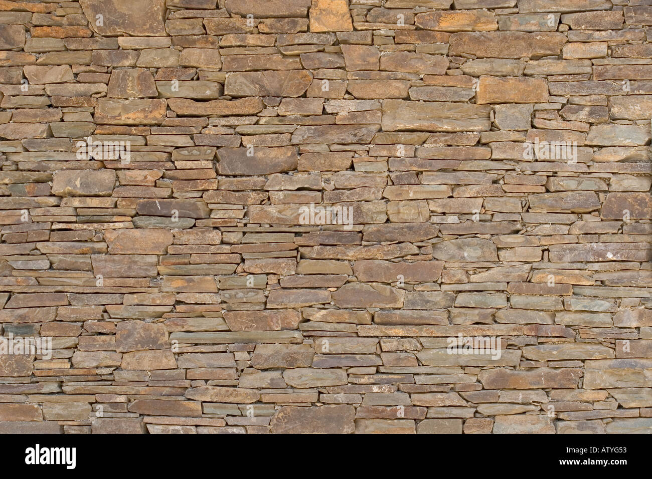 Dry Stacked Stone Wall - Stock Image