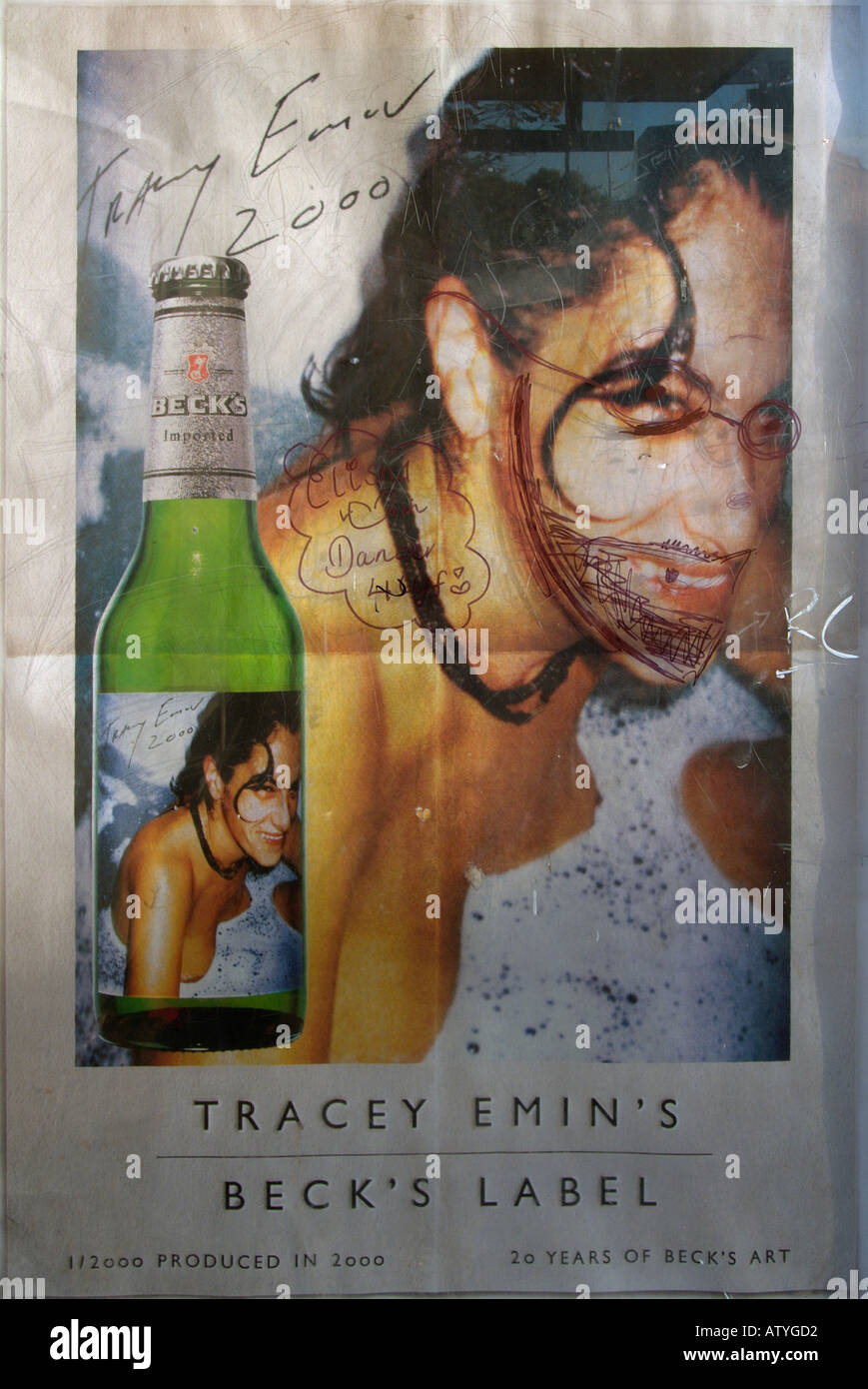 tracy emin poster defaced with graffiti becks beer Stock Photo