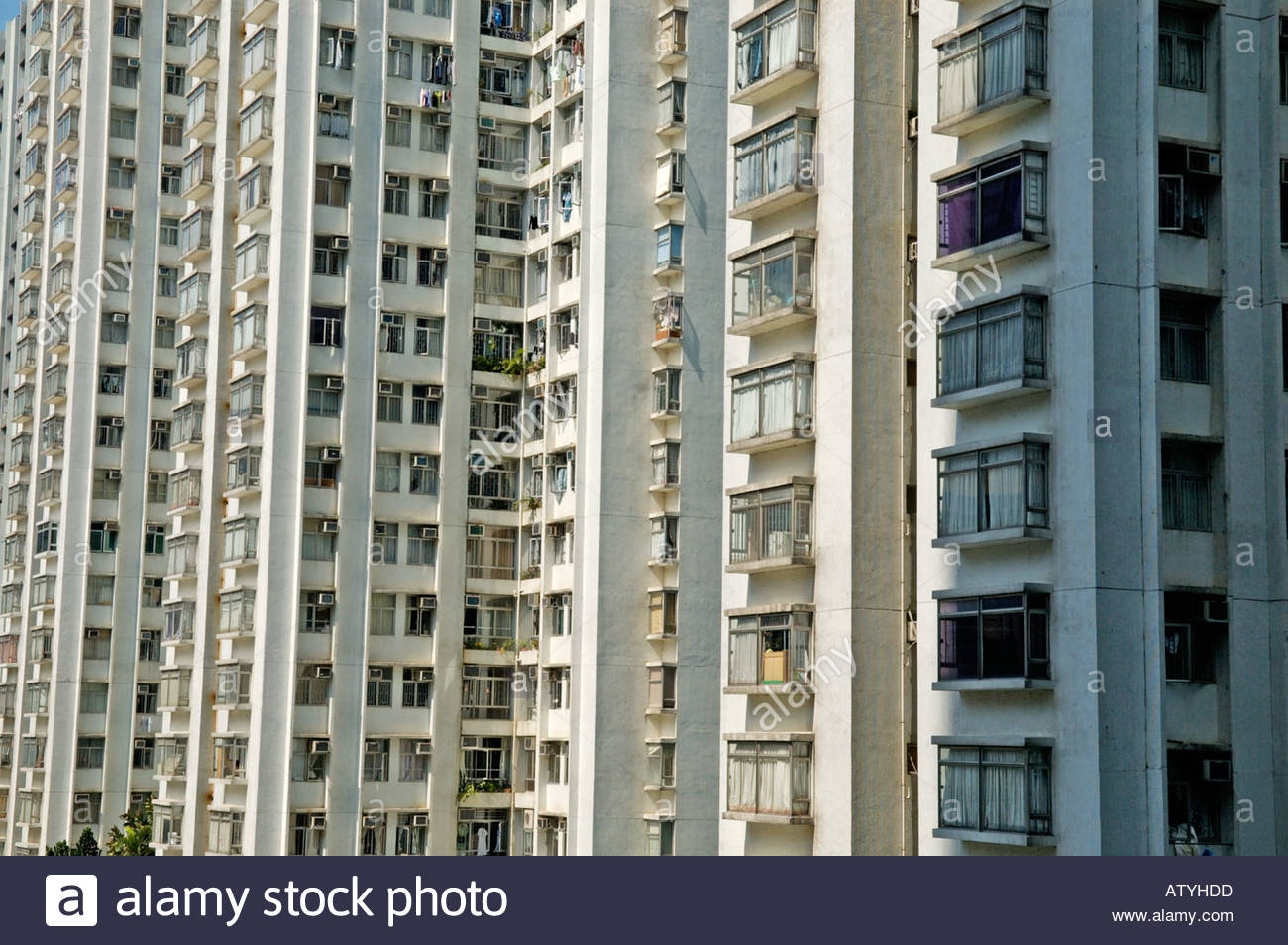 Typical Block Of Middle Class Housing Flats Apartments In A Suburban
