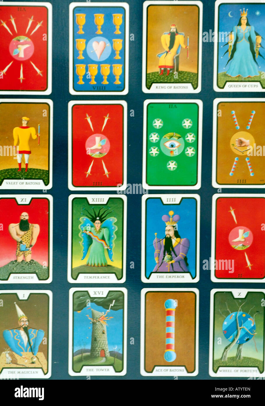 a pack set deck of colourfule tarot cards used for runes fortune telling predictiong future mystical magicians fete - Stock Image