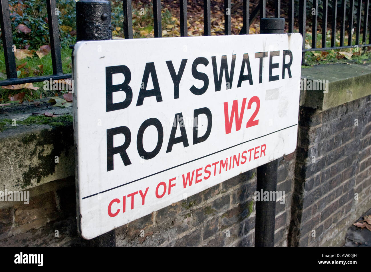 Bayswater road london stock photos bayswater road london stock bayswater road london w2 street name sign stock image reheart Gallery