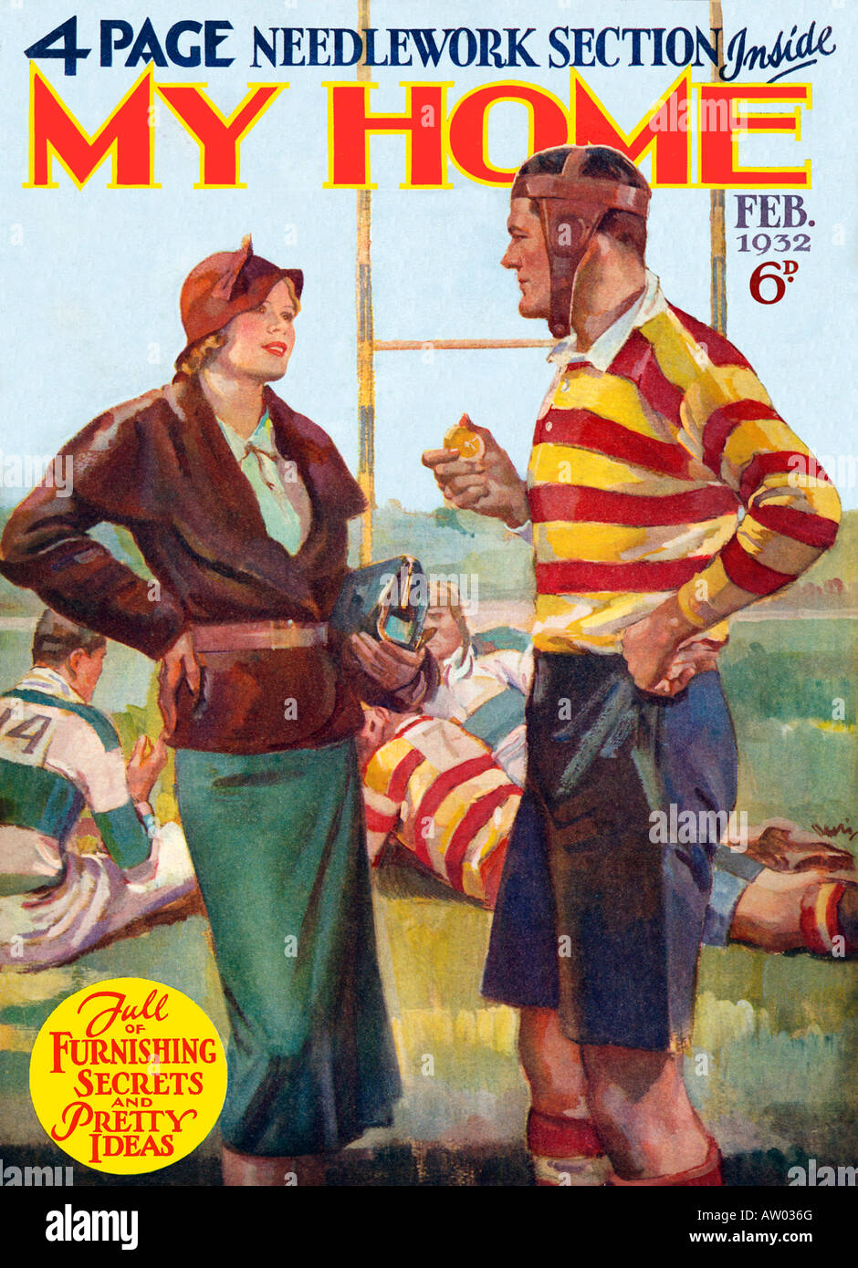 Rugger My Home 1932 lifestyle magazine with a charming picture of domestic bliss at half time on the rugby pitch - Stock Image
