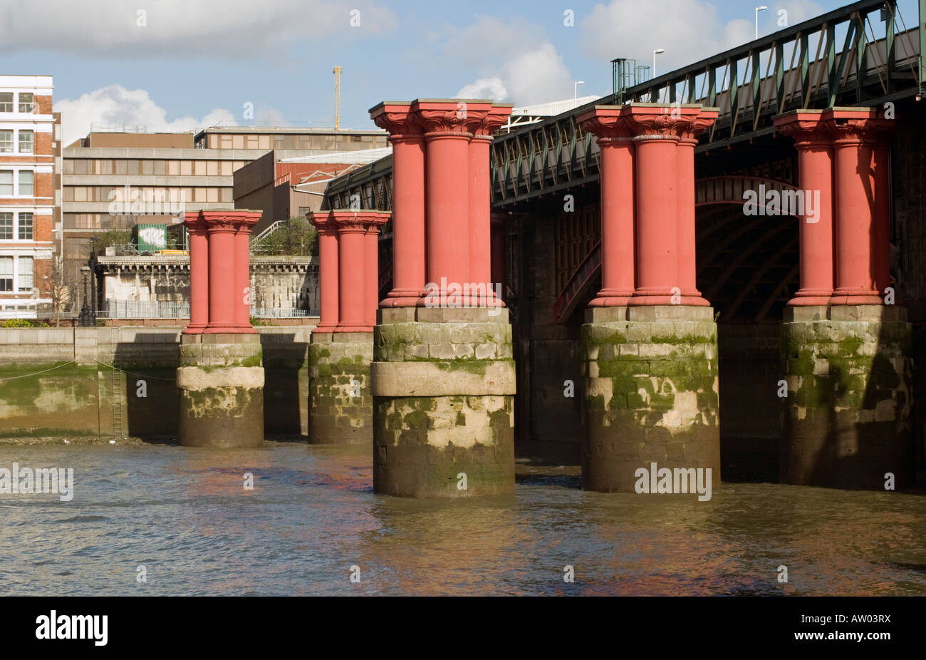 The Red Iron Columns That Once Supported The  London, Chatham & Dover Railway At Blackfriars London - Stock Image