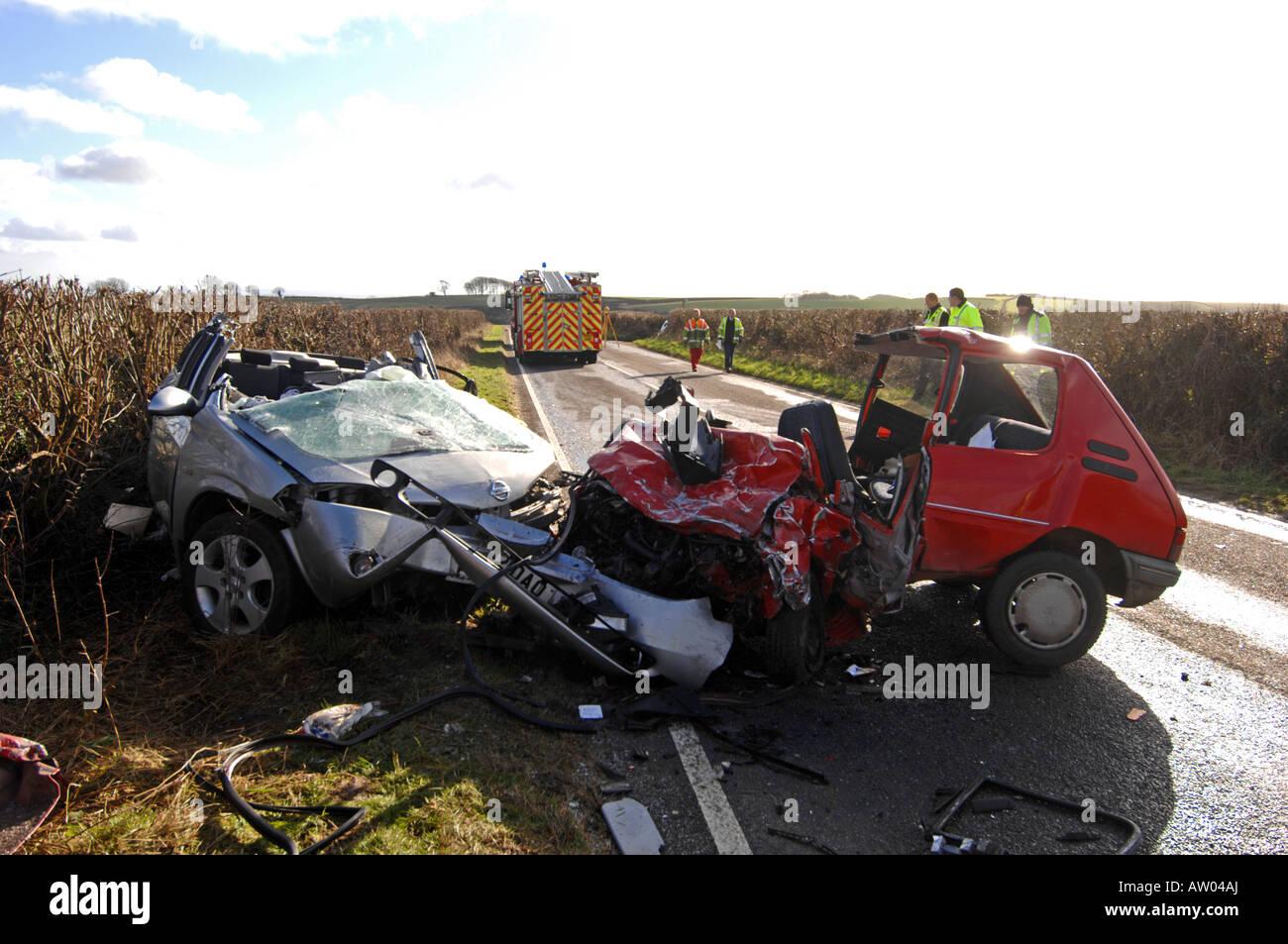 Scene of a fatal head on car crash that killed 4 people
