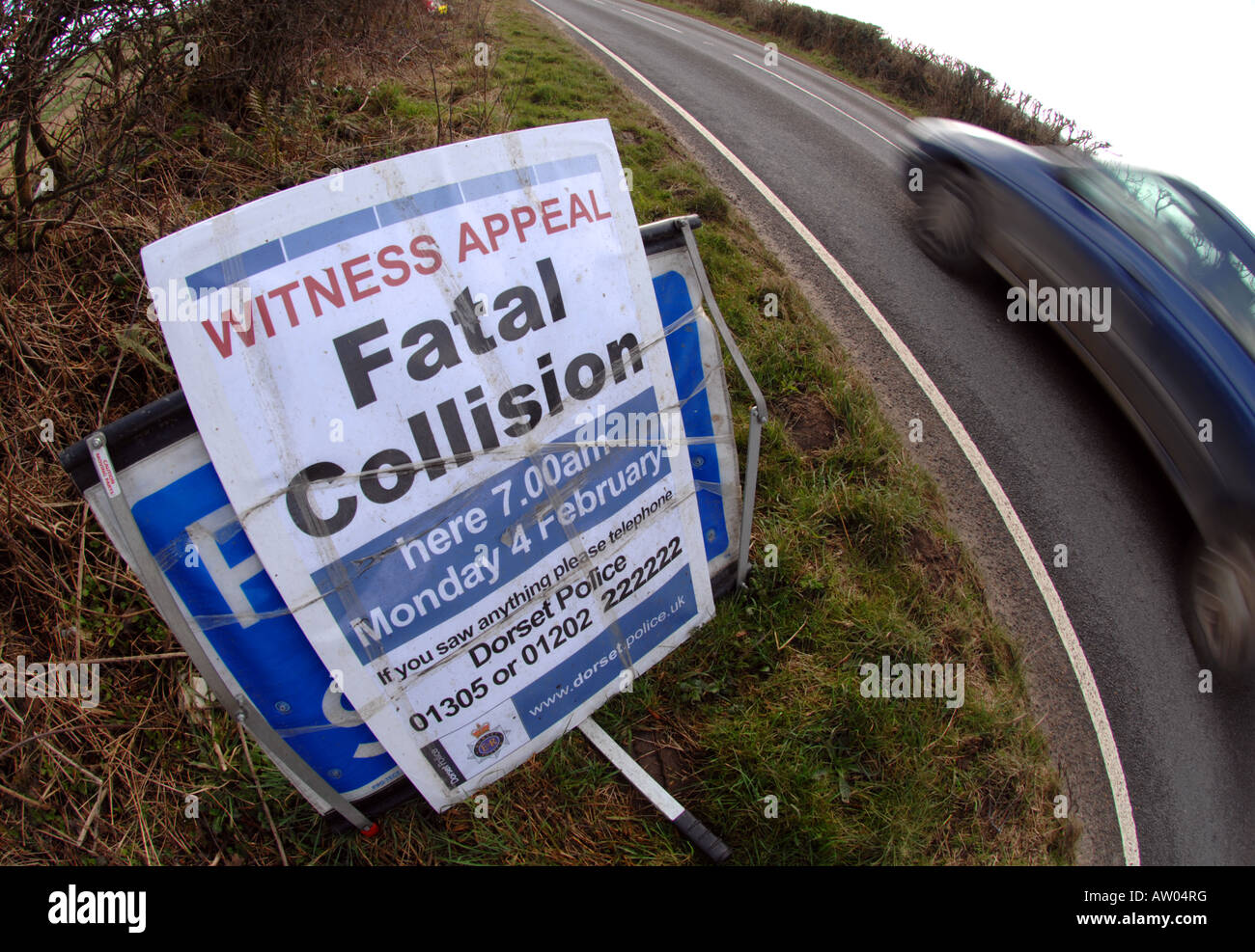 Witness appeal sign following a fatal car accident - Stock Image