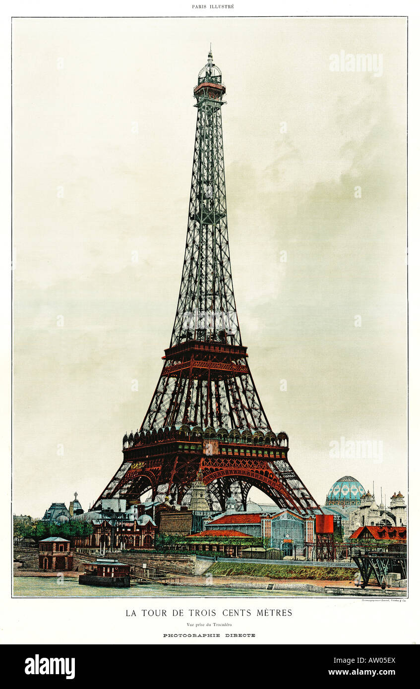 Eiffel Tower 1889 coloured photo of the Tour Eiffel centrepiece of the Paris International Exposition Stock Photo