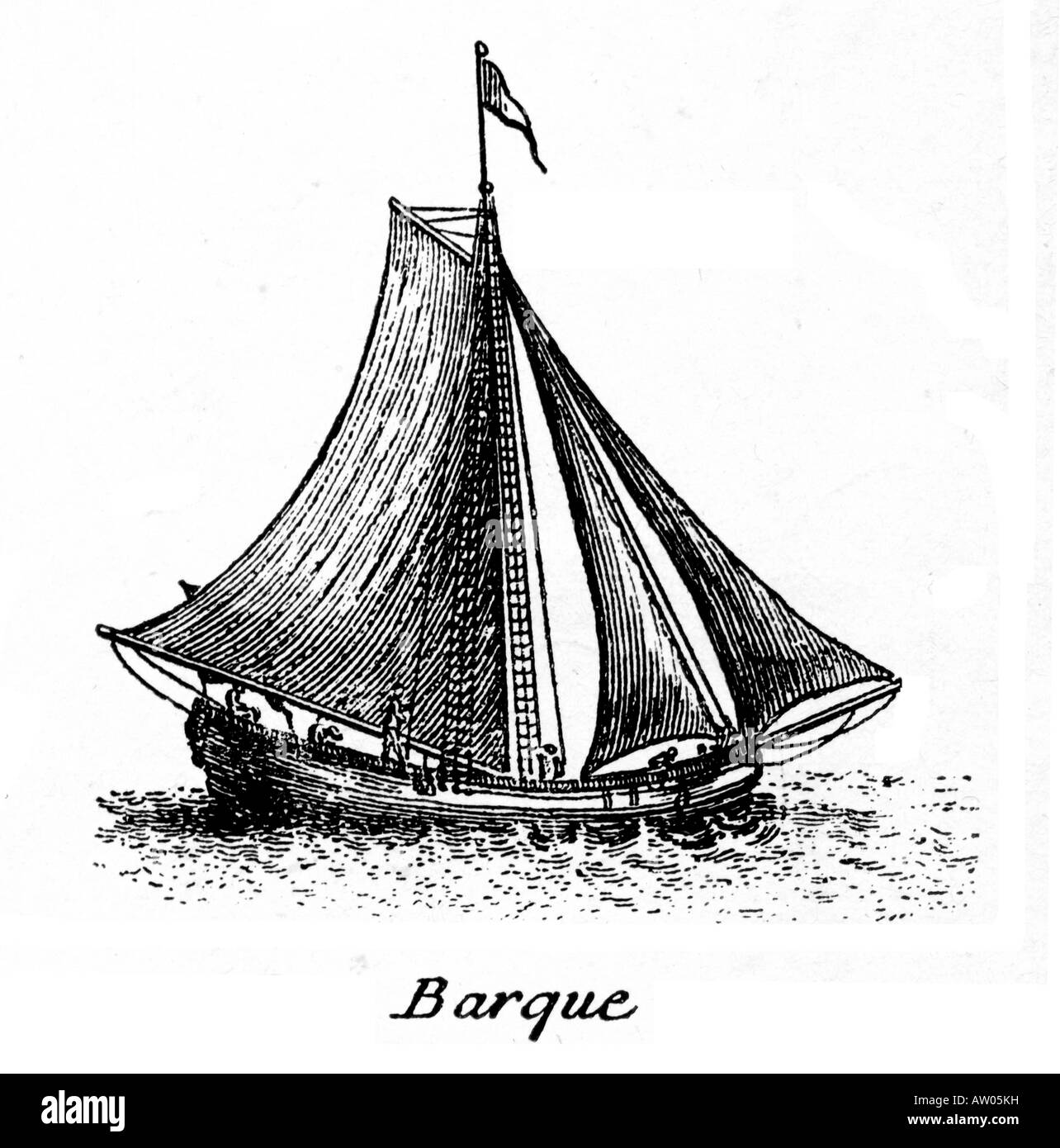 Barque the small vessel sailed by pirates and buccaneers in the Caribbean around 1700 to attack Spanish treasure - Stock Image
