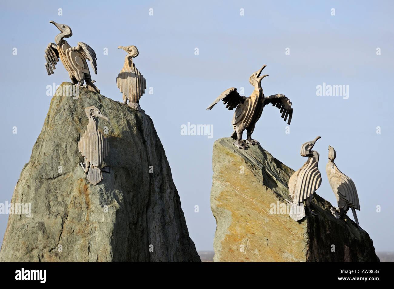 Cormorant bird sculpture. The Tern Project. Morecambe, Lancashire, England, United Kingdom, Europe. - Stock Image