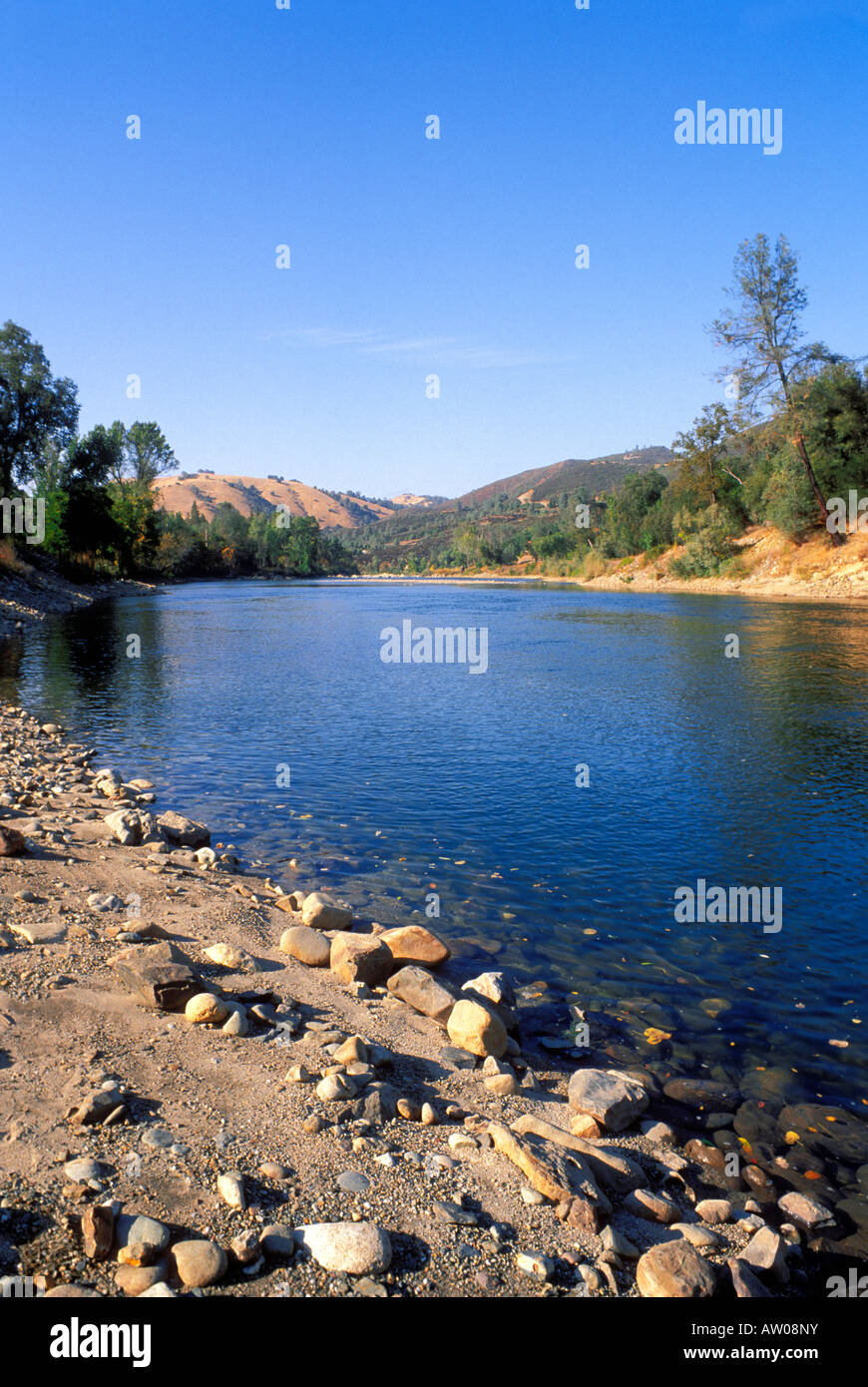 The south fork of the American River Marshall Gold Discovery State Historic Park Coloma California - Stock Image