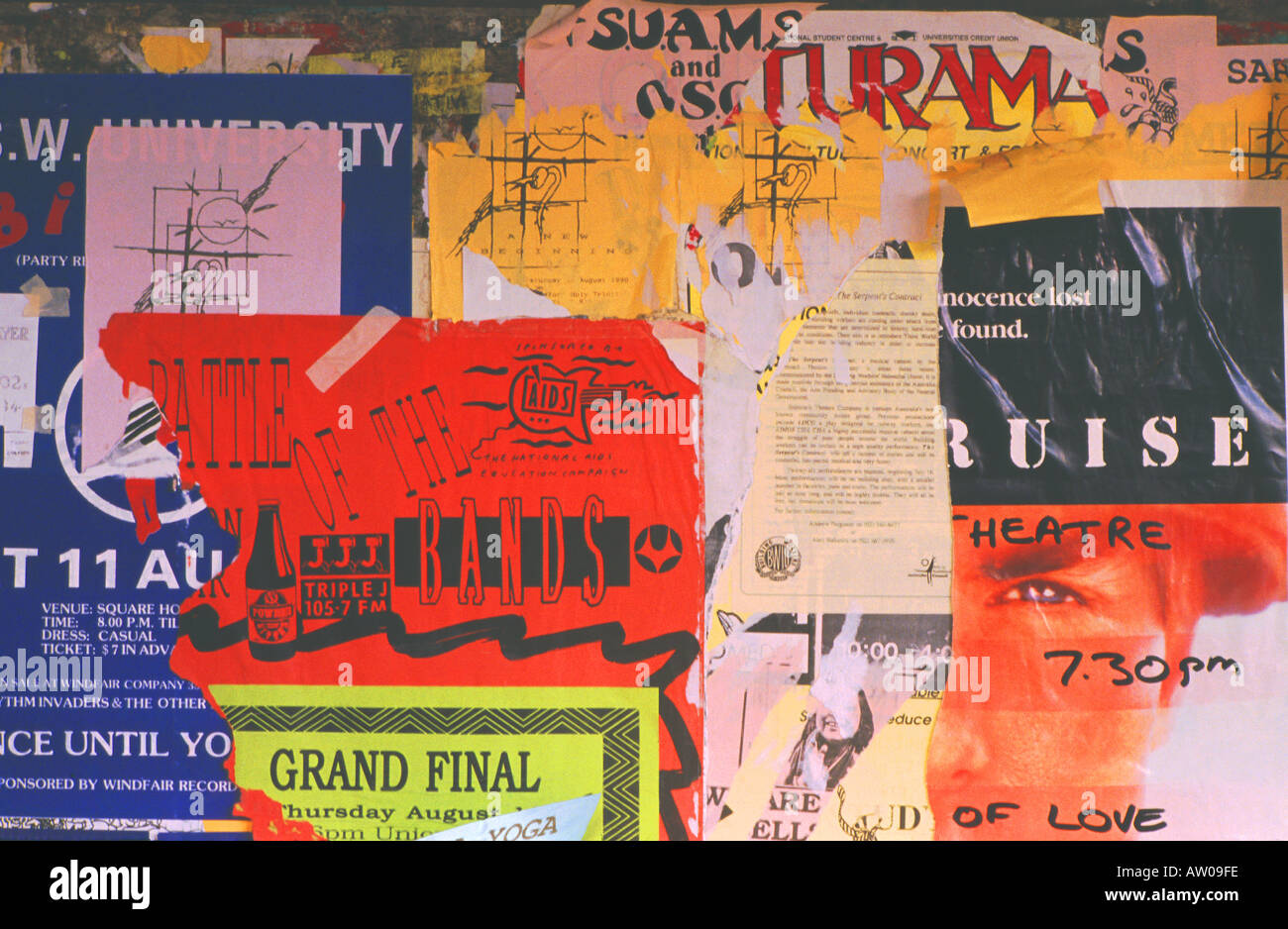 A collage of torn posters - Stock Image