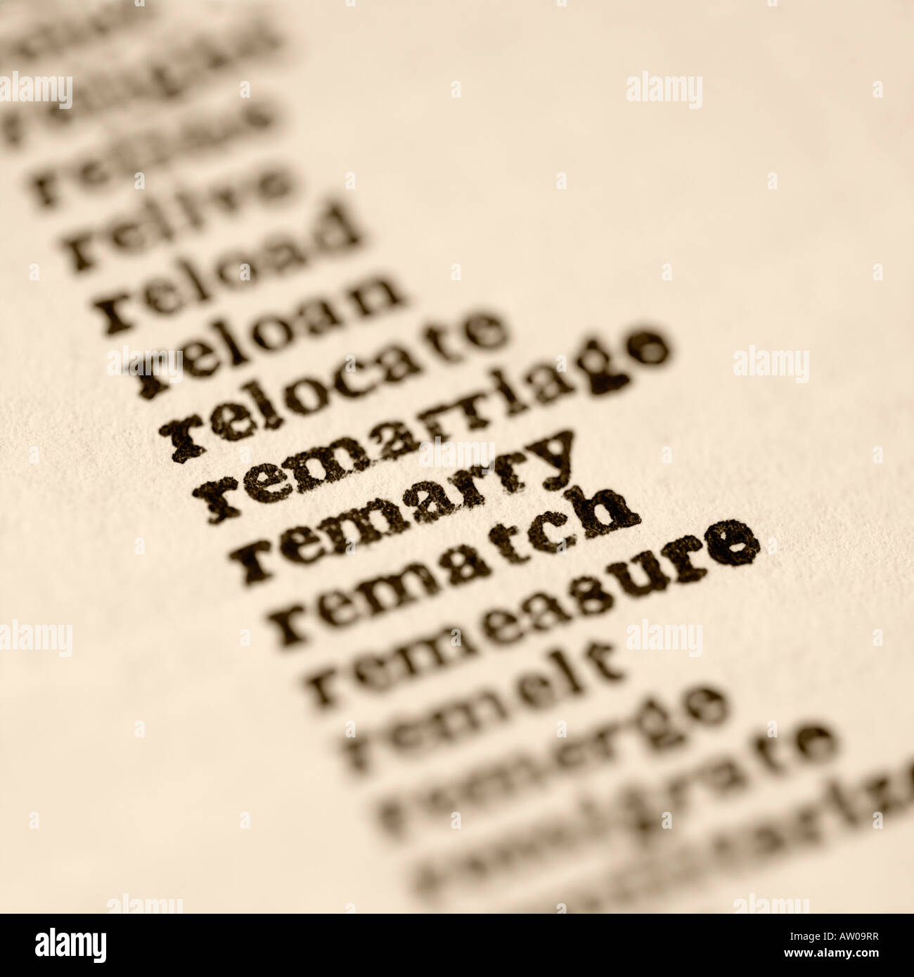 List of words. - Stock Image