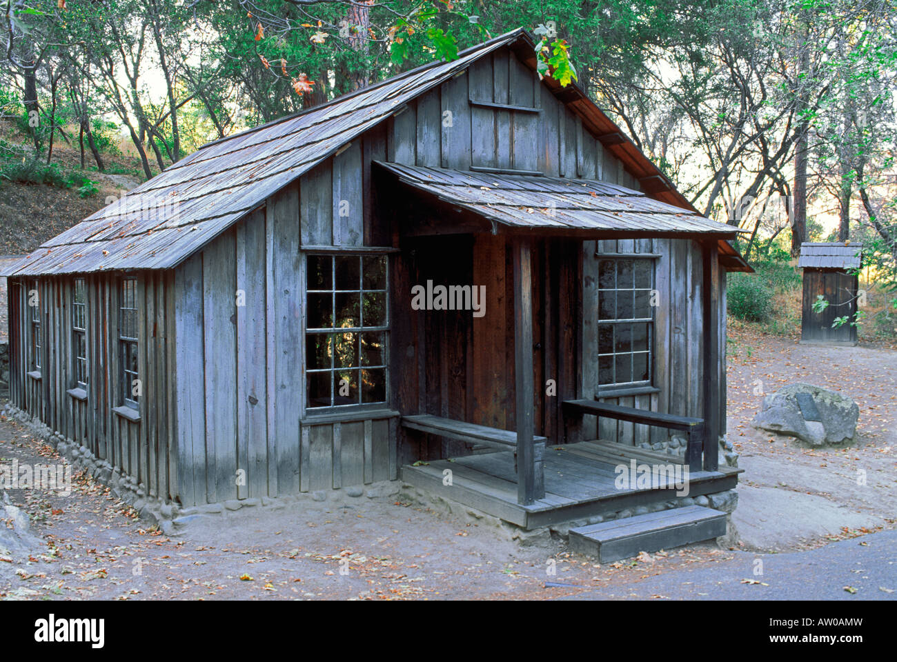 James Marshall's cabin Marshall Gold Discovery State Historic Park Coloma California - Stock Image