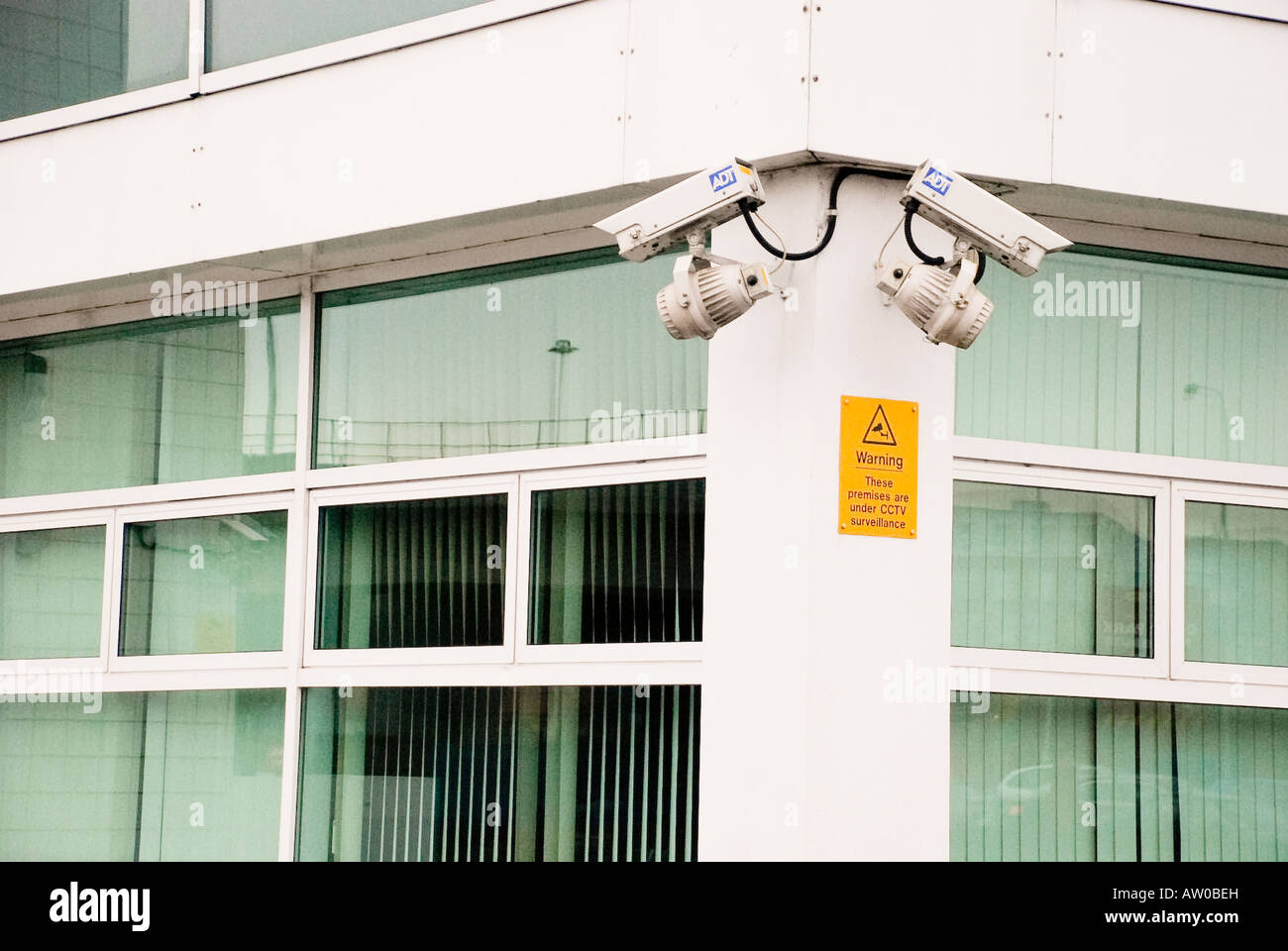 CCTV Cameras on corner of an office building Stock Photo
