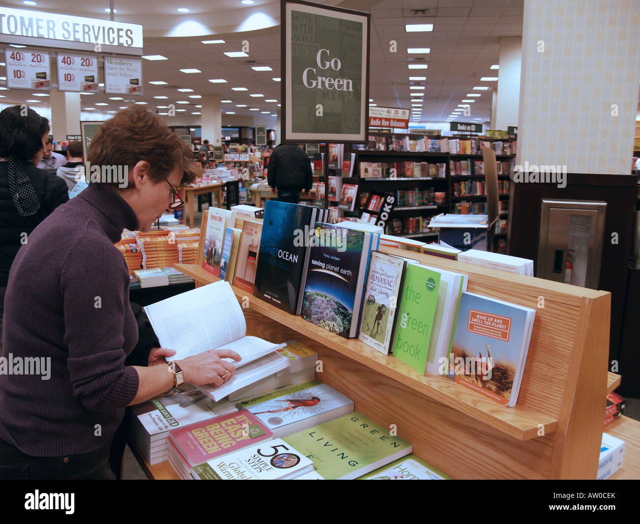 A woman peruses a book about green living at a bookstore - Stock Image