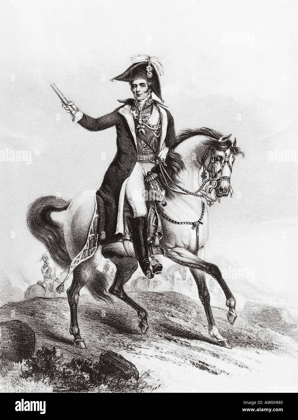 ARTHUR WELLESLEY 1st Duke of Wellington 1769 to 1852 - a contemporary engraving Stock Photo