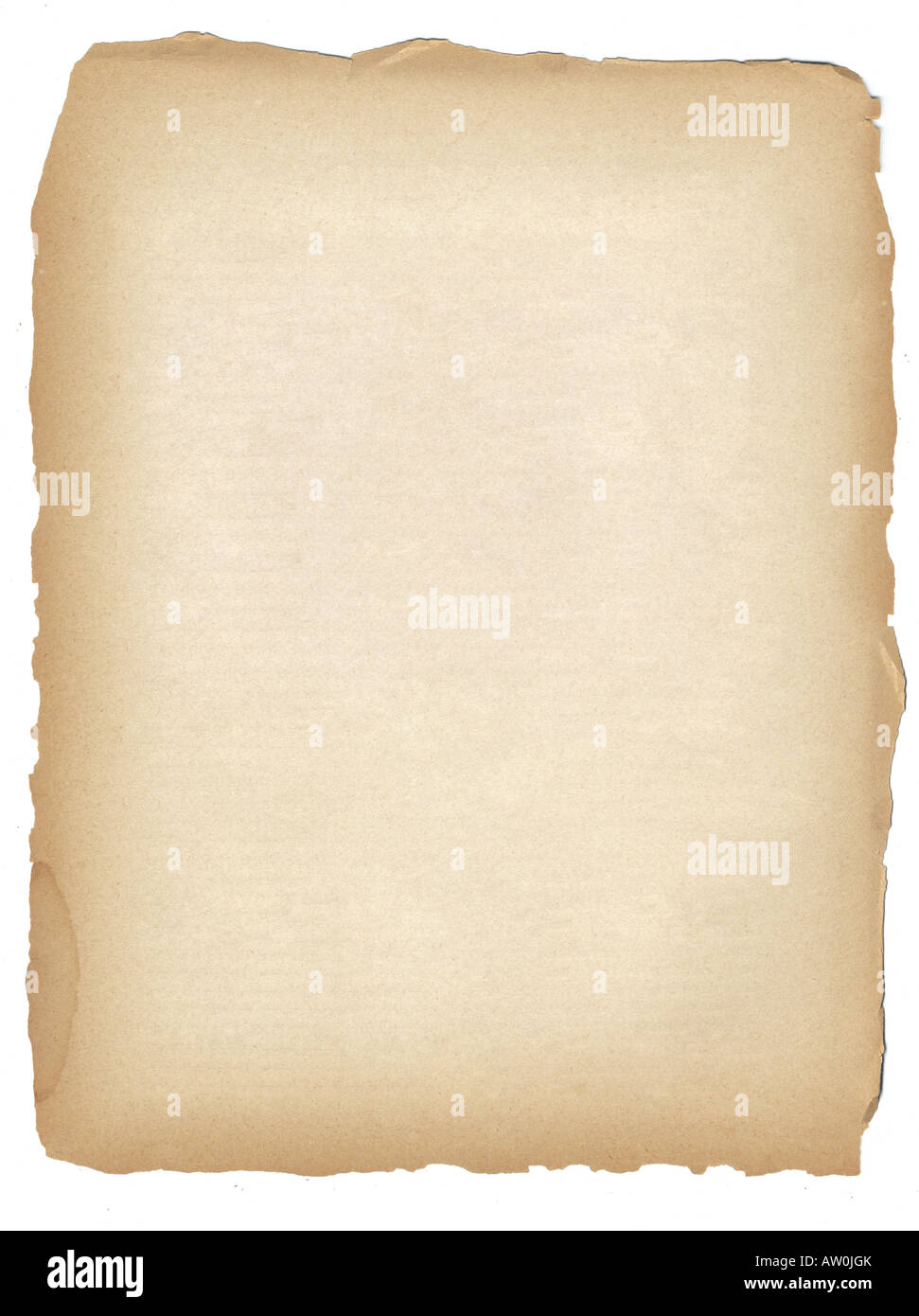 sheet of rough edged toned antique paper - Stock Image