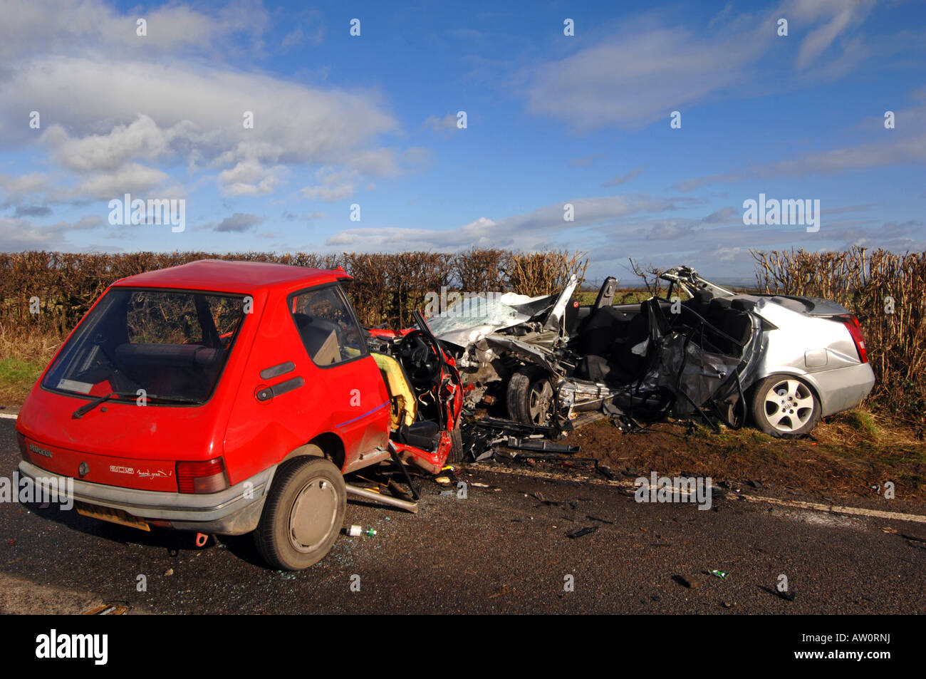 Scene of a fatal head on car crash that killed 4 people - Stock Image