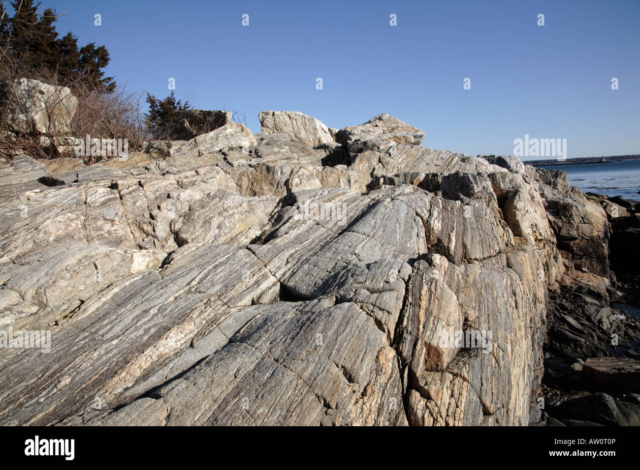 New Hampshire.....Odiorne Point State Park during the winter months Located in Rye New Hampshire USA which is part - Stock Image