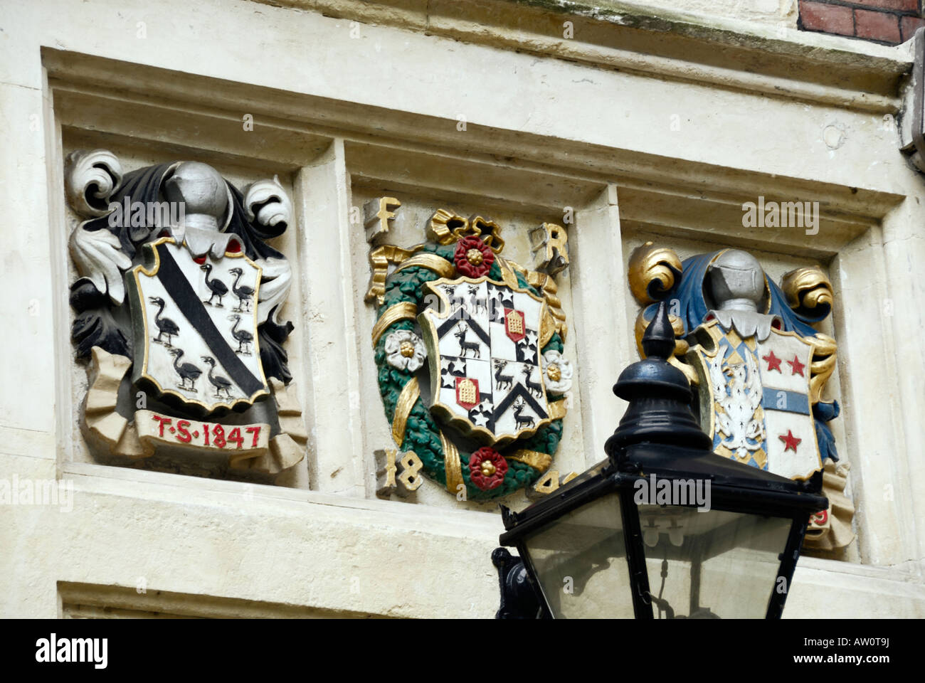 Coats of arms above entrance to Barristers' Chambers in the Temple, (the legal district), London - Stock Image