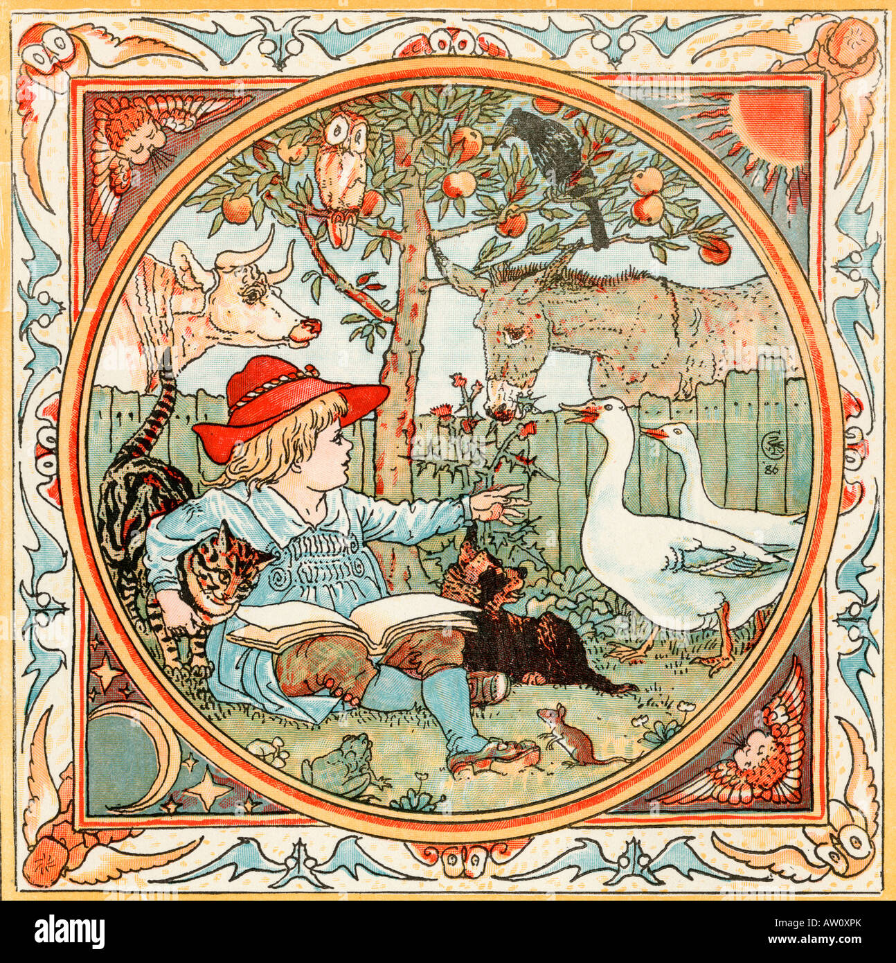Frontispiece From the book The Babys Own Aesop by Walter Crane published c1920 - Stock Image