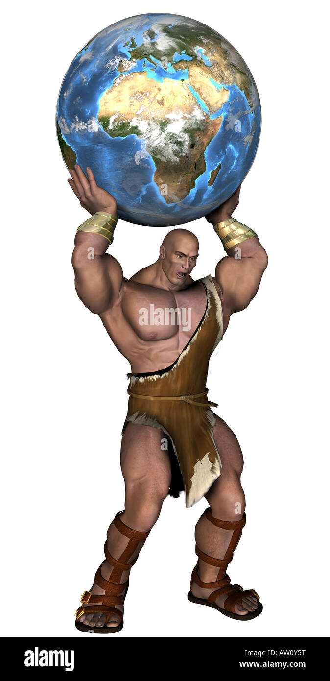 Caveman with globe - Stock Image