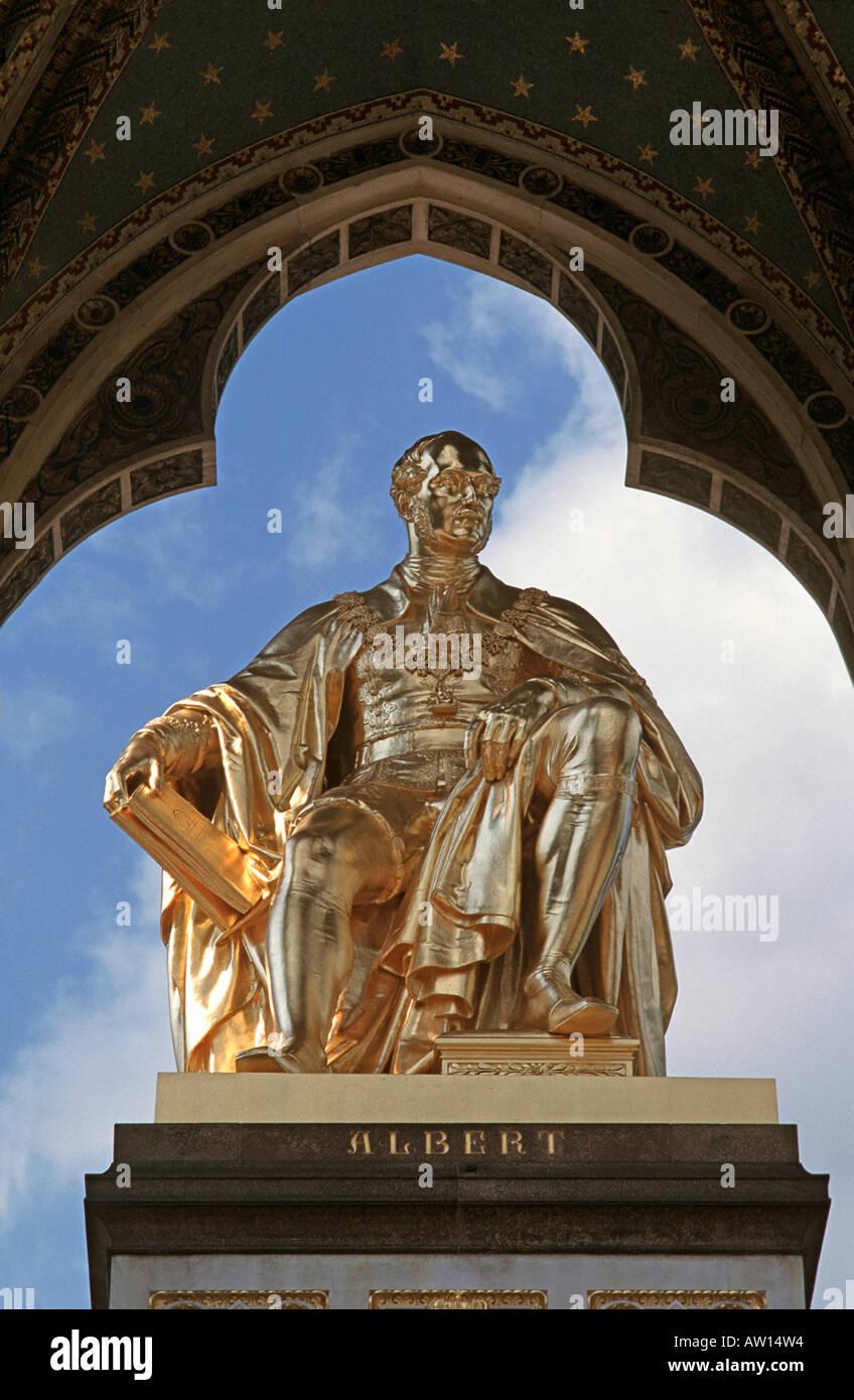 Statue of Prince Albert Queen Victorias husband Kensington Garden London The Albert Memorial England - Stock Image