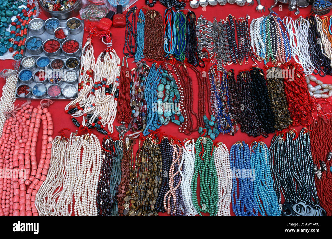 Bead necklaces for sale at market in Keylong As also sold in Manali Himachal Pradesh India - Stock Image