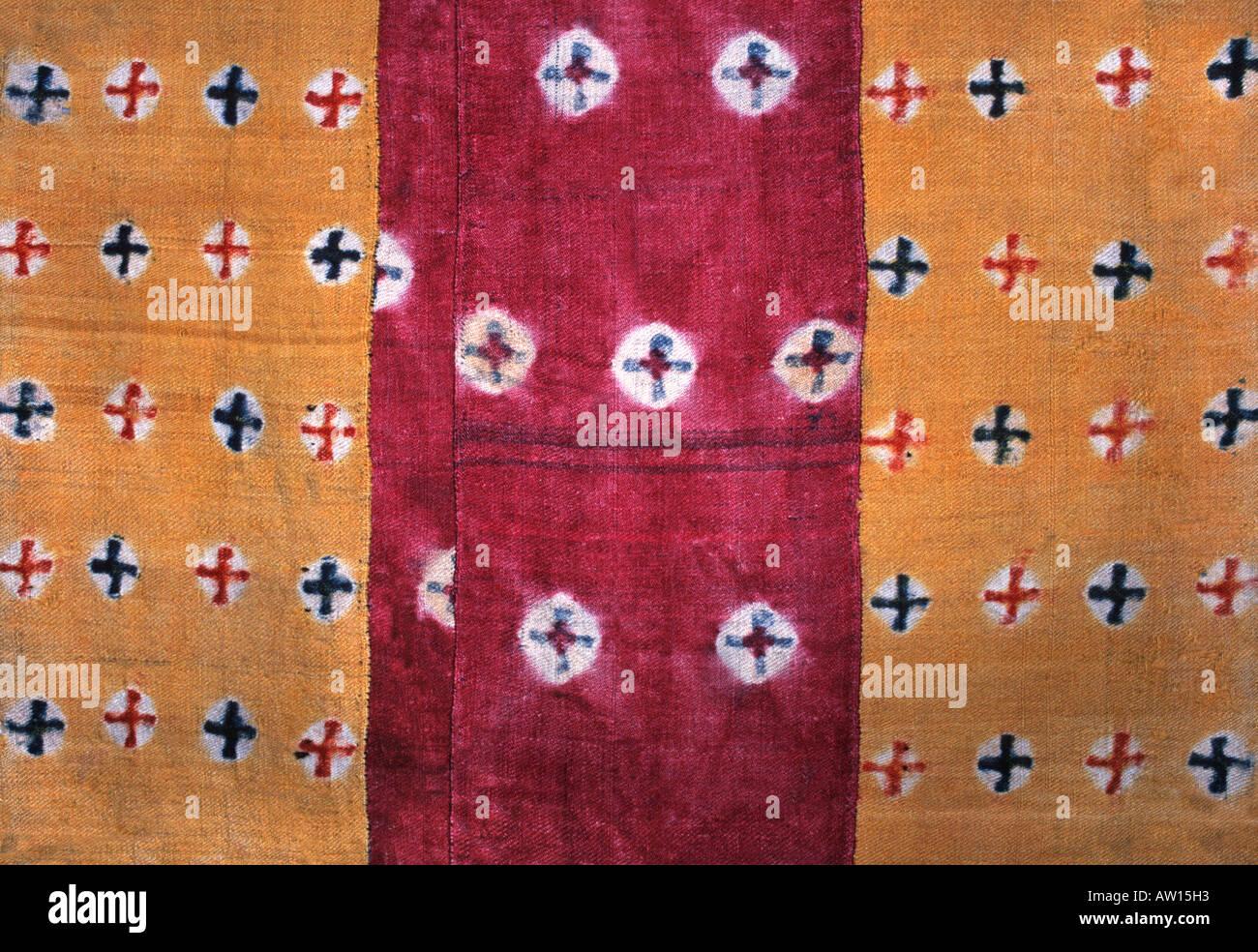 Tibetan textile with Buddhist iconography Tibet - Stock Image