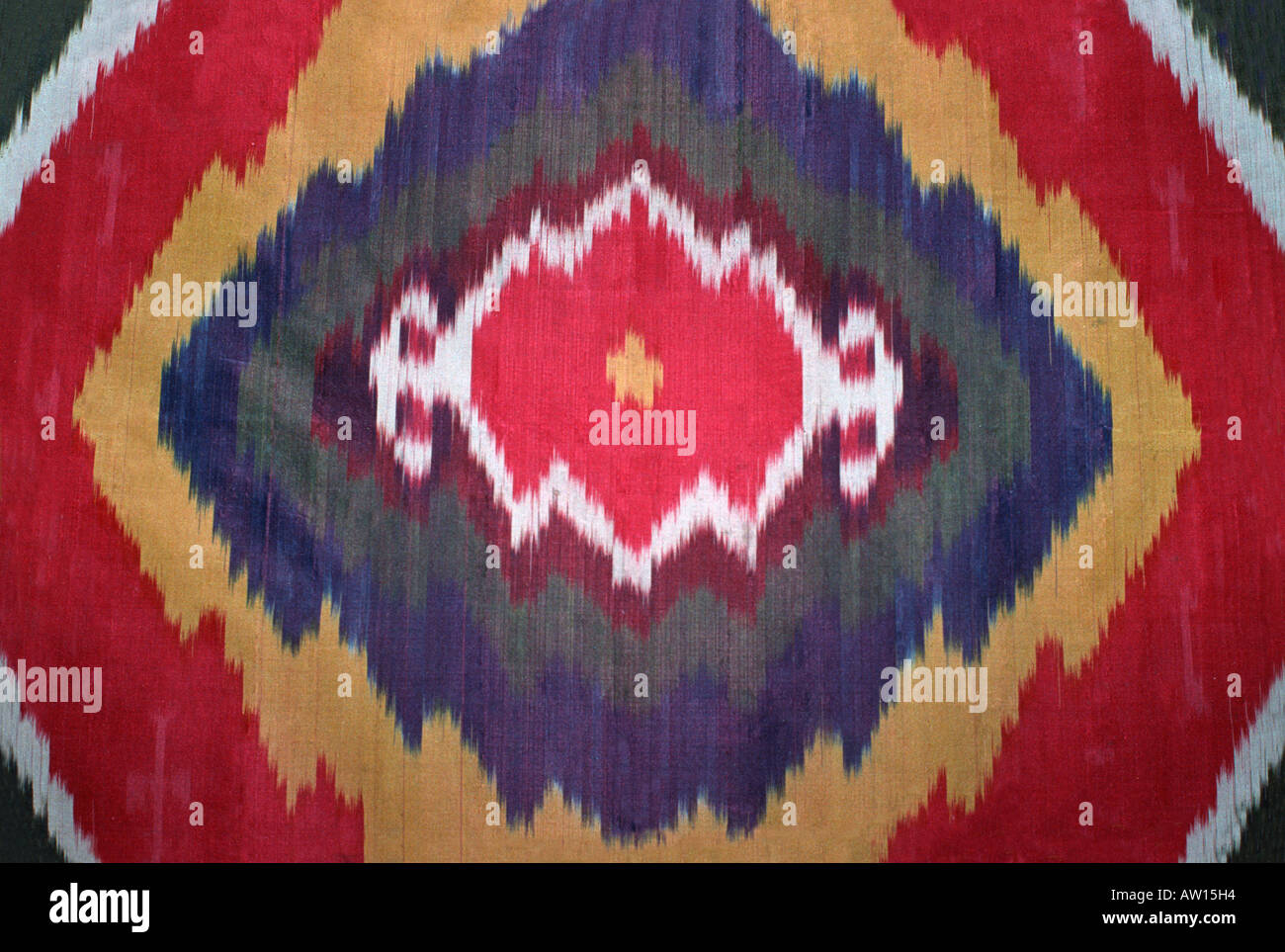 Uzbekistan Ikat patterned silk fabric Detail of Uzbek silk coat Ikat coats are an important textile tradition in Central Asia - Stock Image